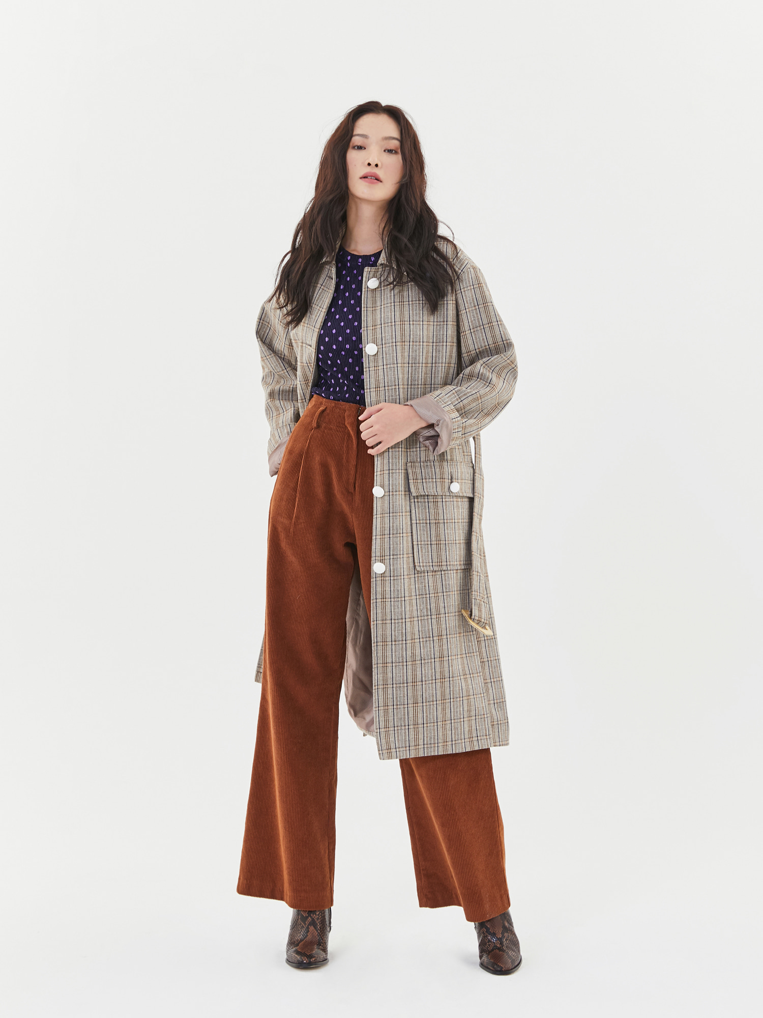 Check Single Button Coat in Beige