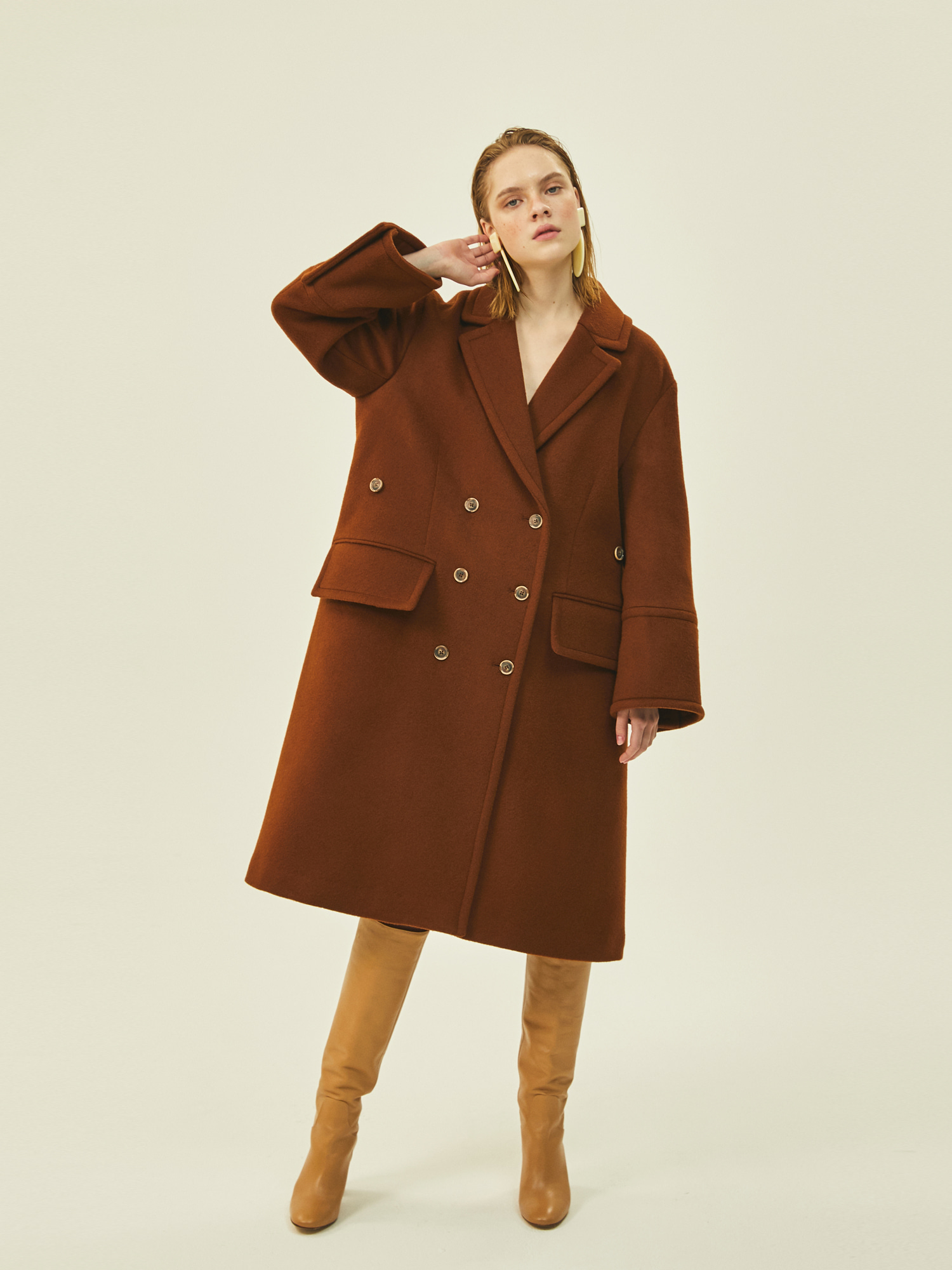 [Clearance 30%Off]Wide Wool Double Coat in Brown