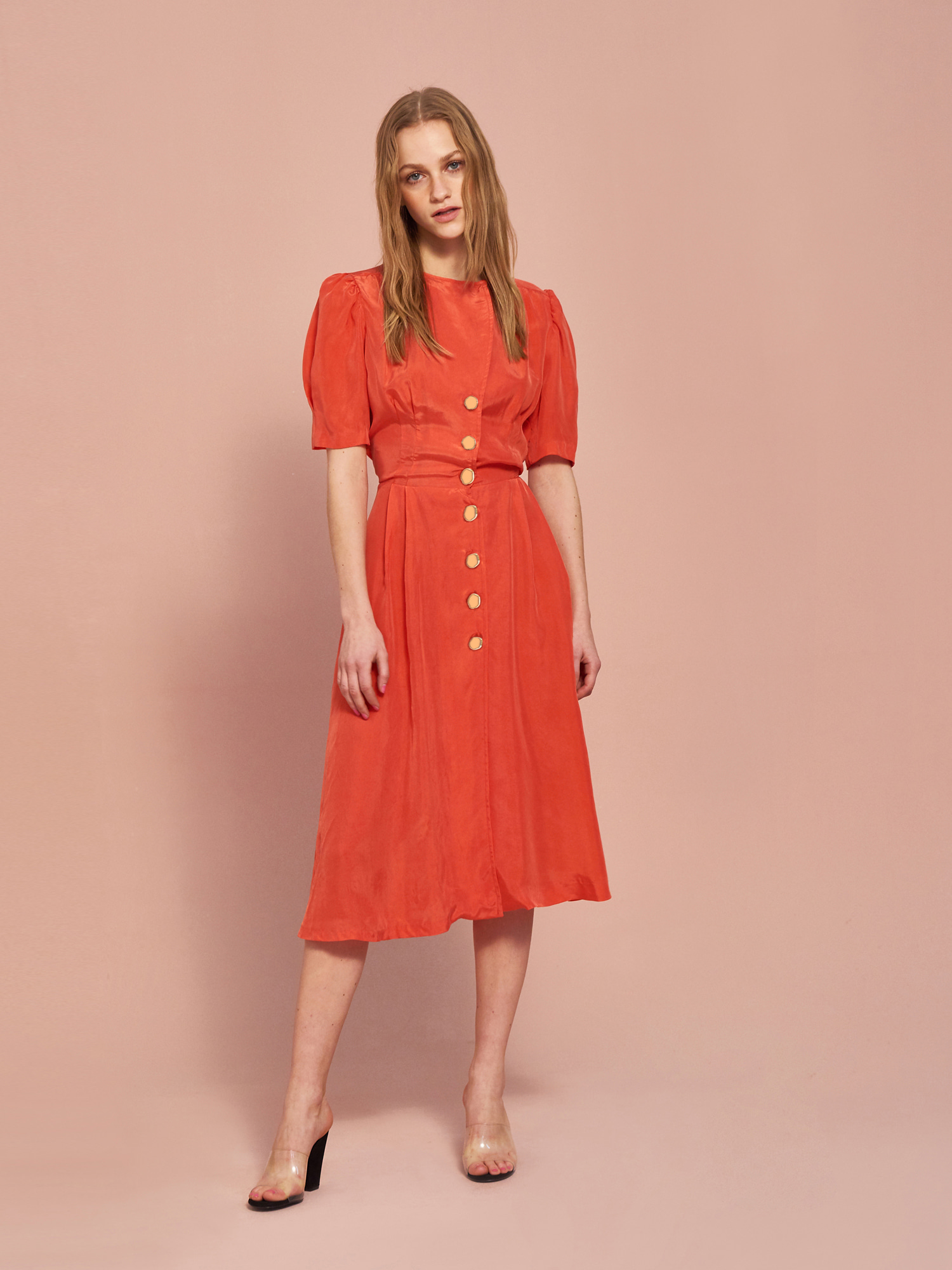 Cupra Button Dress in Scarlet