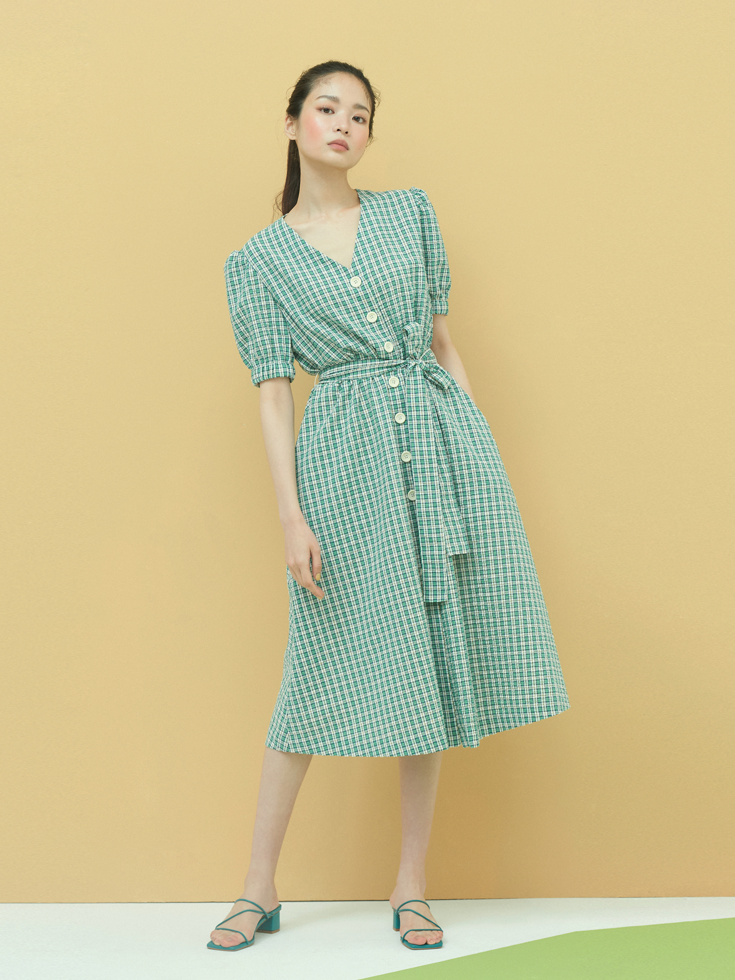[Clearance 50%Off]Check Seersucker Dress in Green