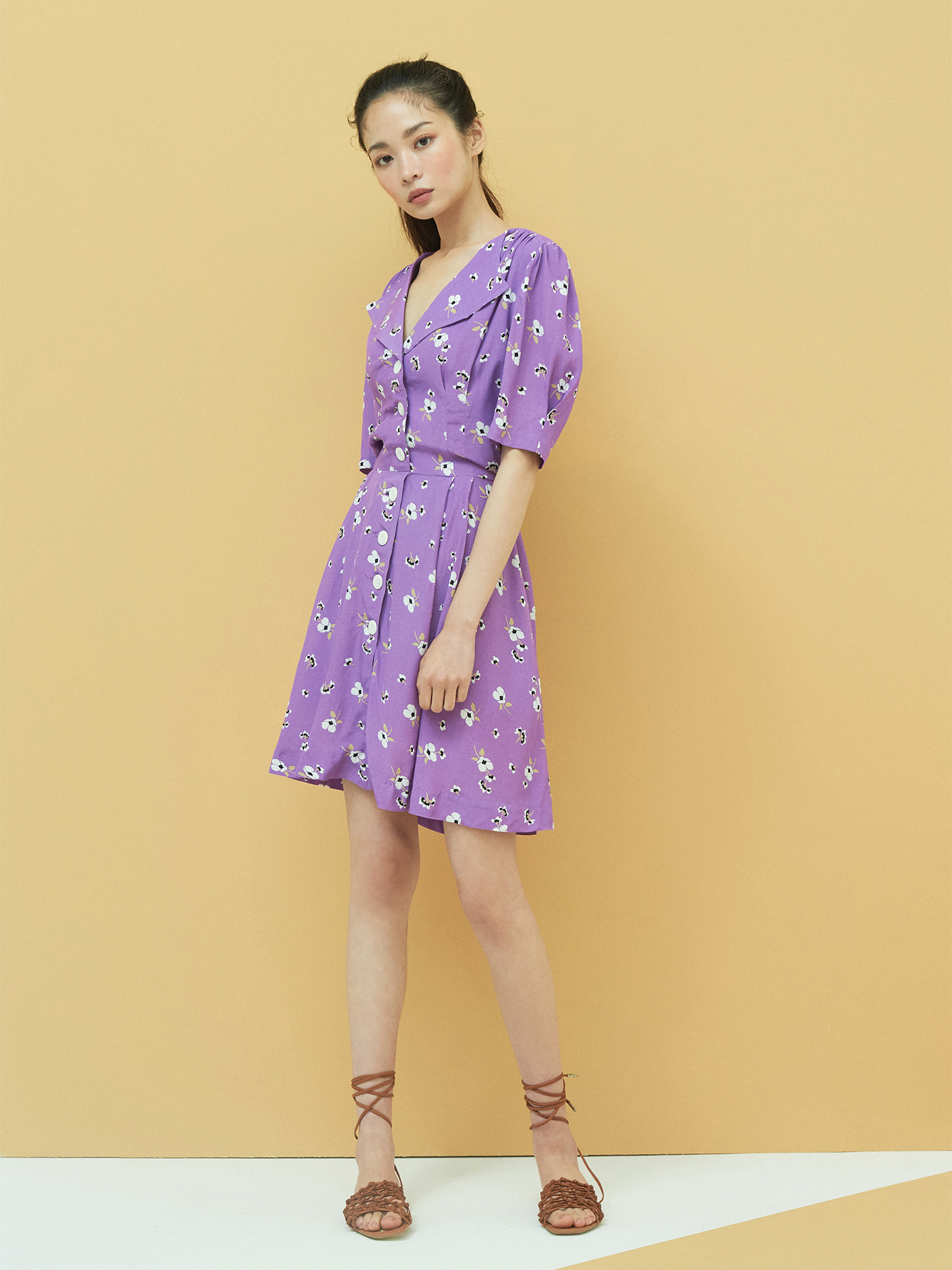[Wconcept Exclusive] Floral Button Dress in Purple