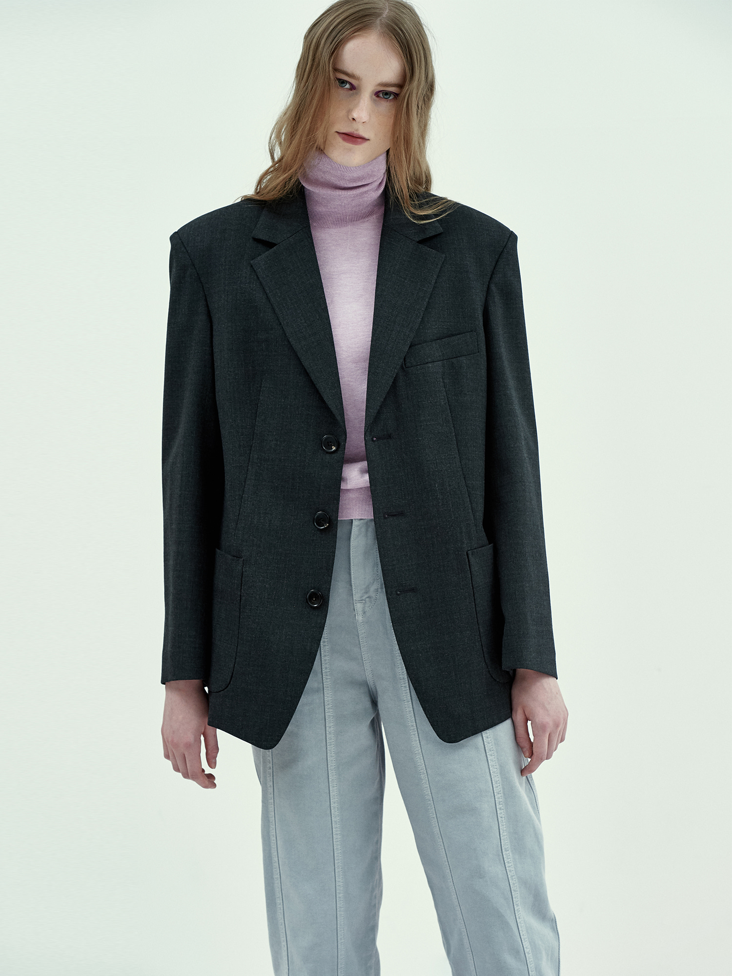 [Season Off Sale 20%Off]Margaret Single Jacket in Charcoal