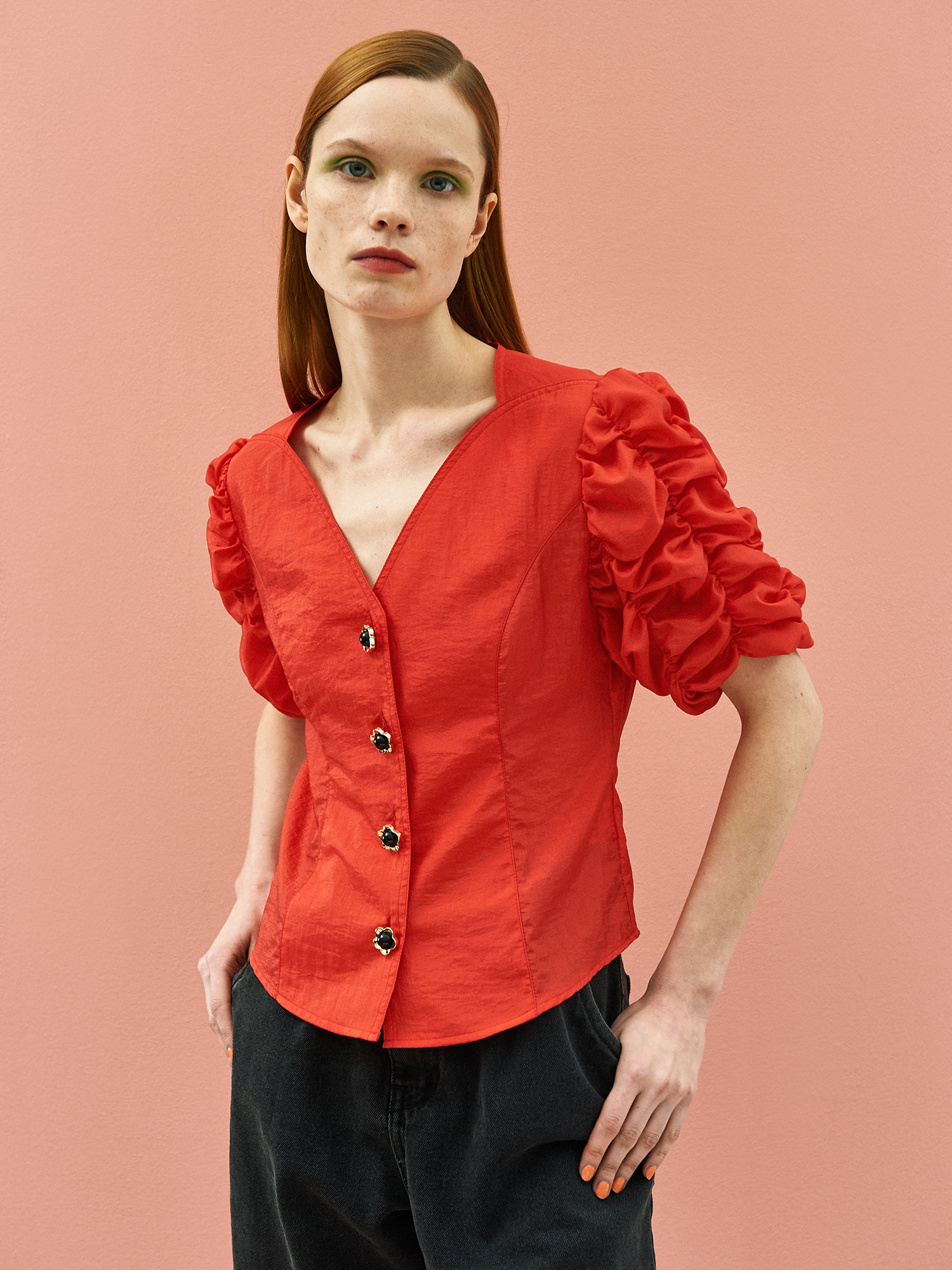 [SEASON OFF 30% SALE]Cockscomb Blouse in Red