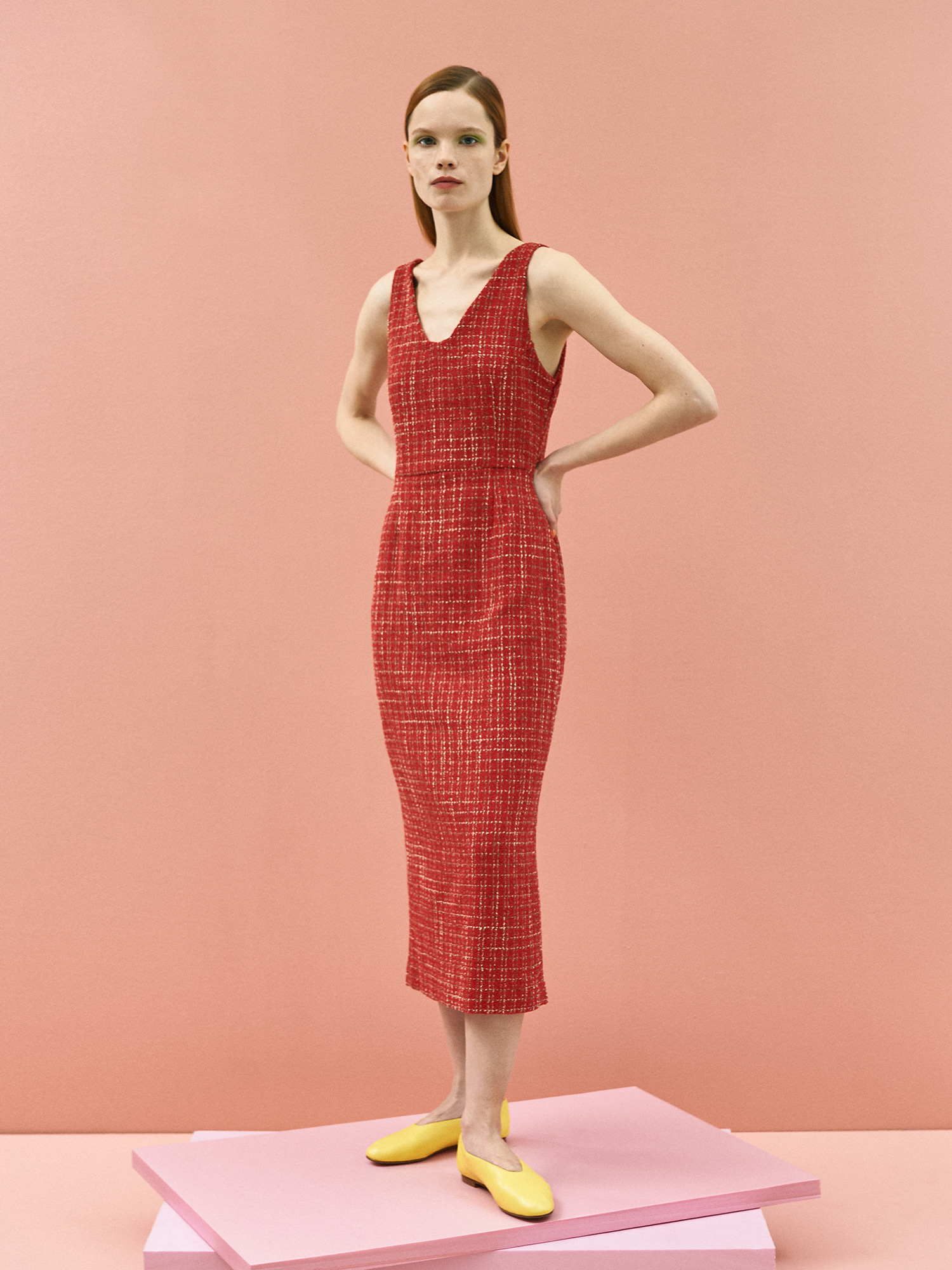[미드세일 30%할인]Tweed Sleeveless Dress in Red