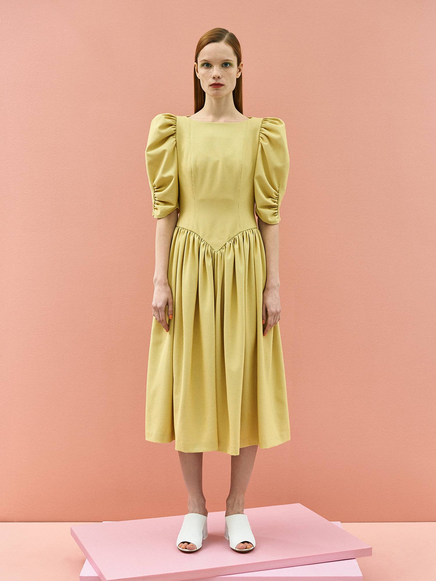 [미드세일 30%할인]Ann Shirring Check Dress in Yellow
