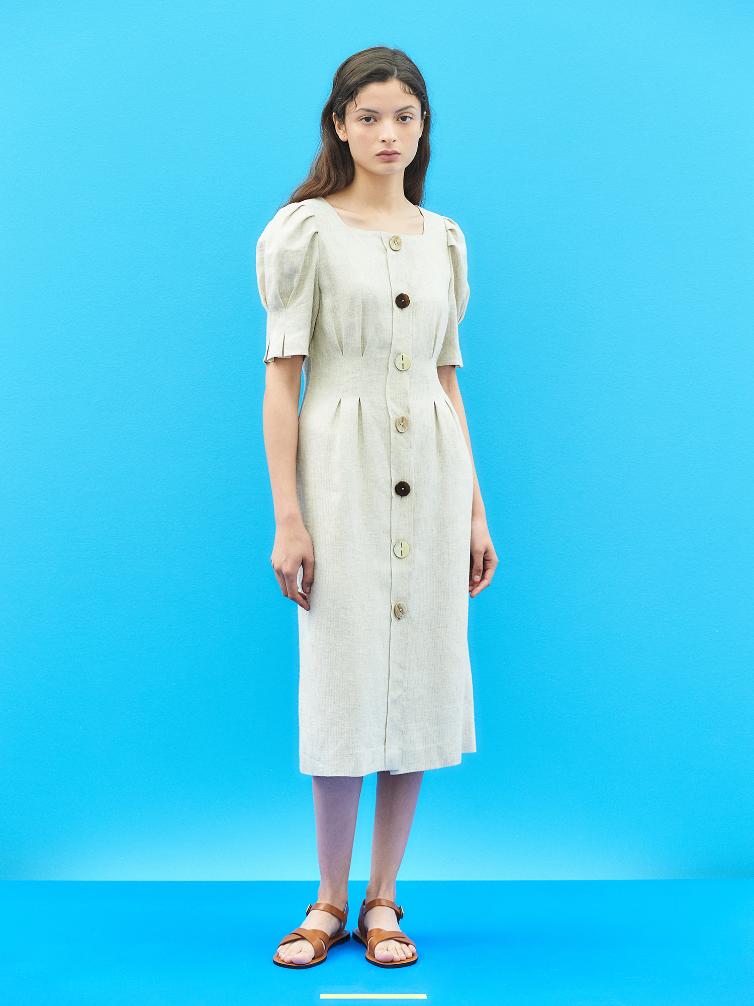 [SUMMER BIG SALE]Natural Linen Puff Button Dress