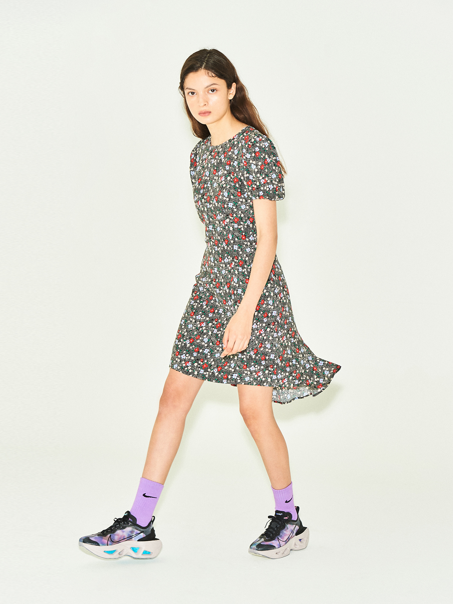 [SUMMER BIG SALE]Floral Back Flare Dress in Black