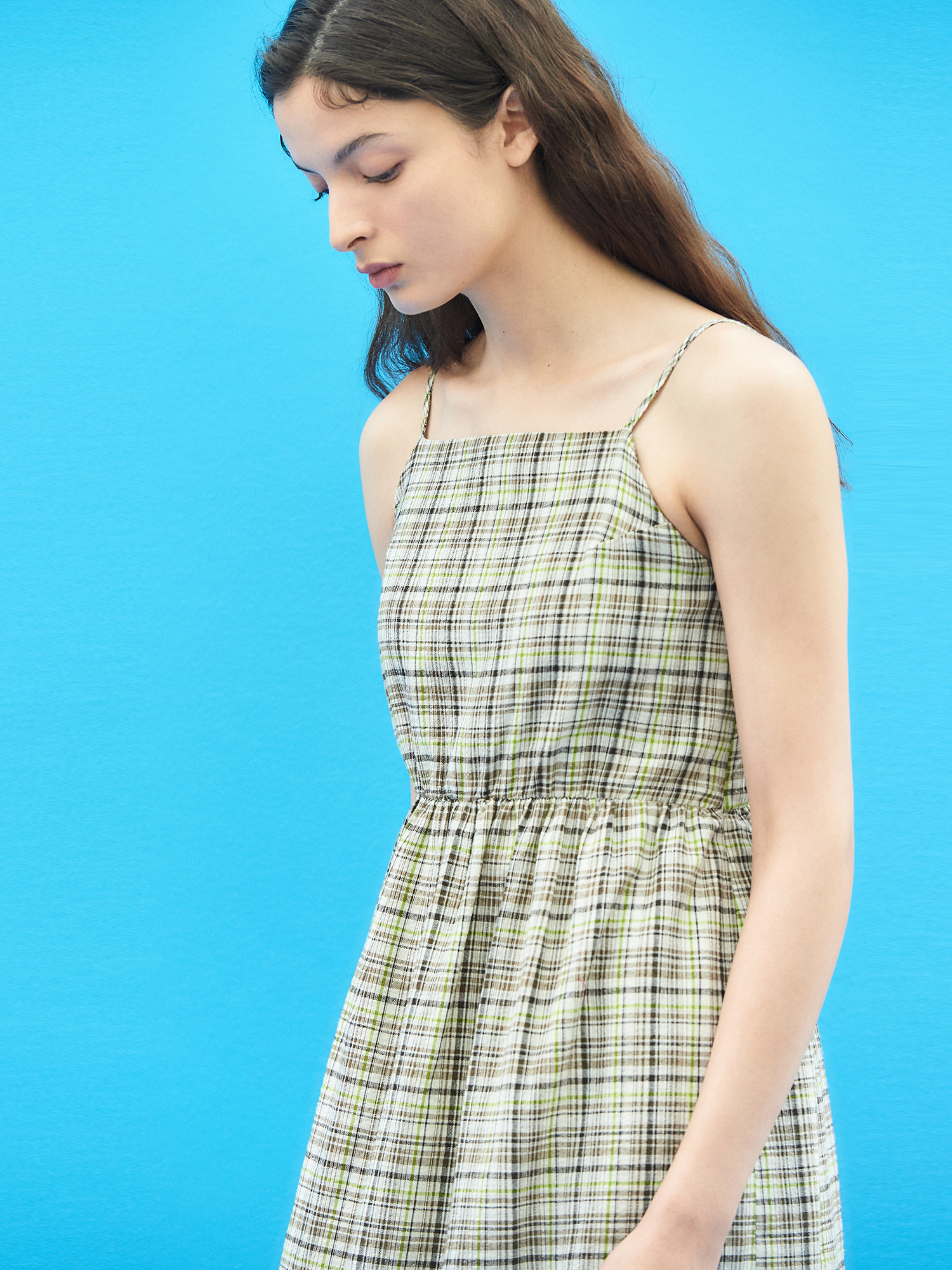 Linen Check Maxi Dress in Brown