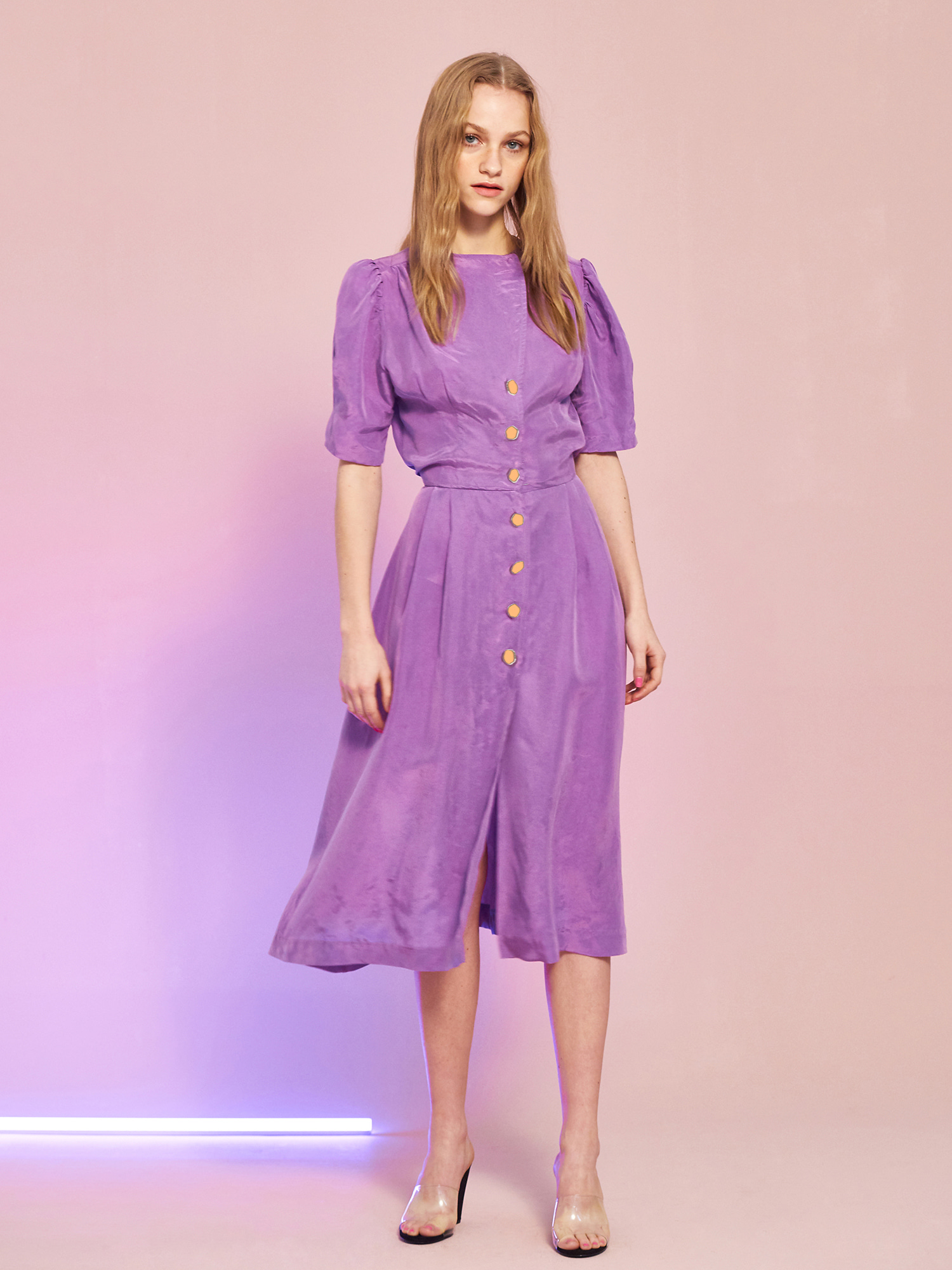 [SUMMER BIG SALE][정소민 착용]Cupra Button Dress in Purple