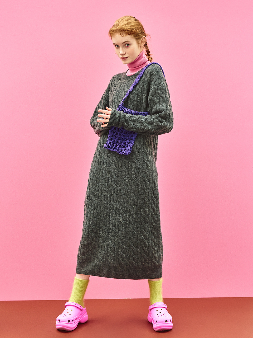 Cable Knit Maxi Dress in Charcoal