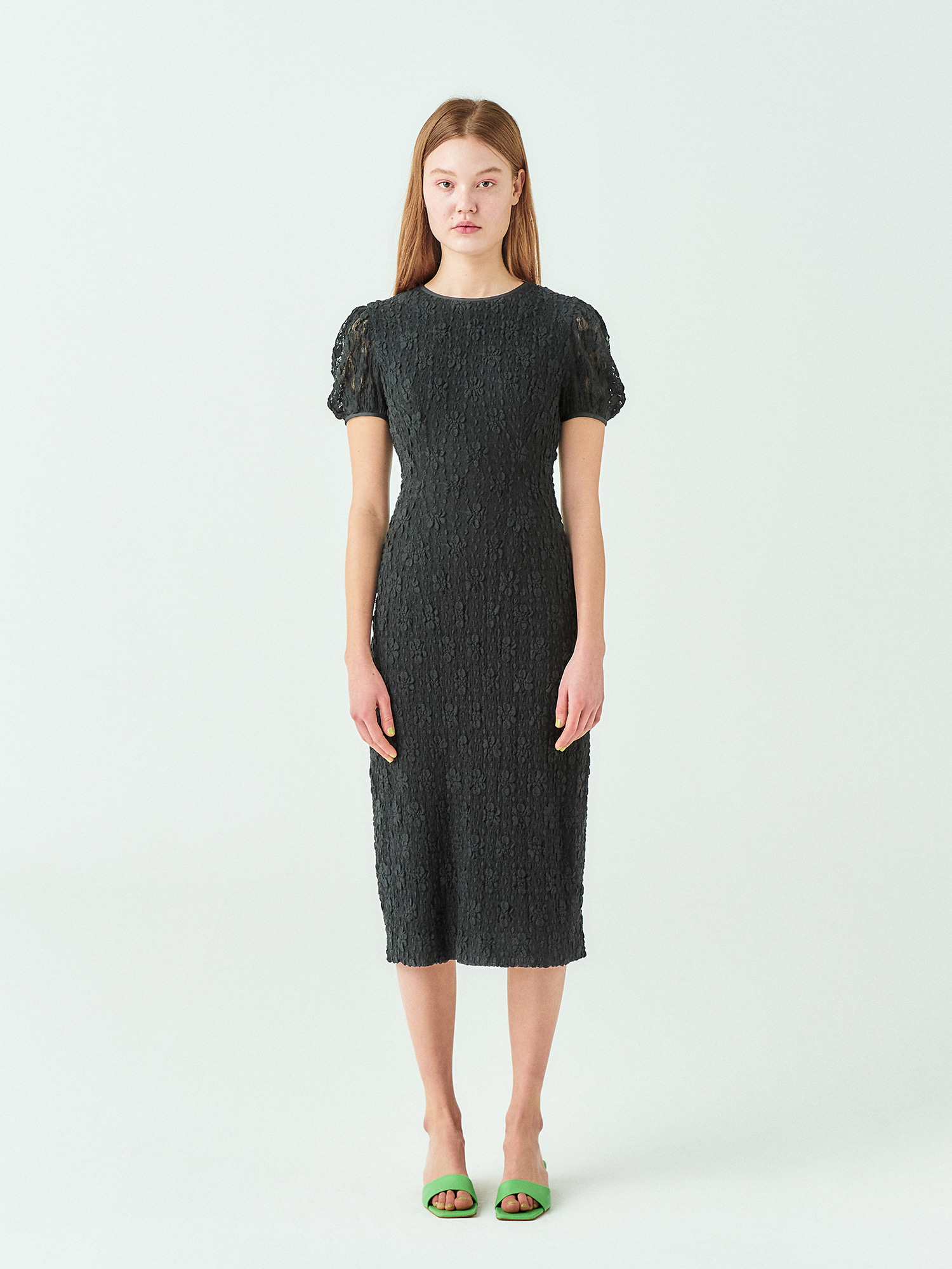 Lace Puff Line Dress in Black