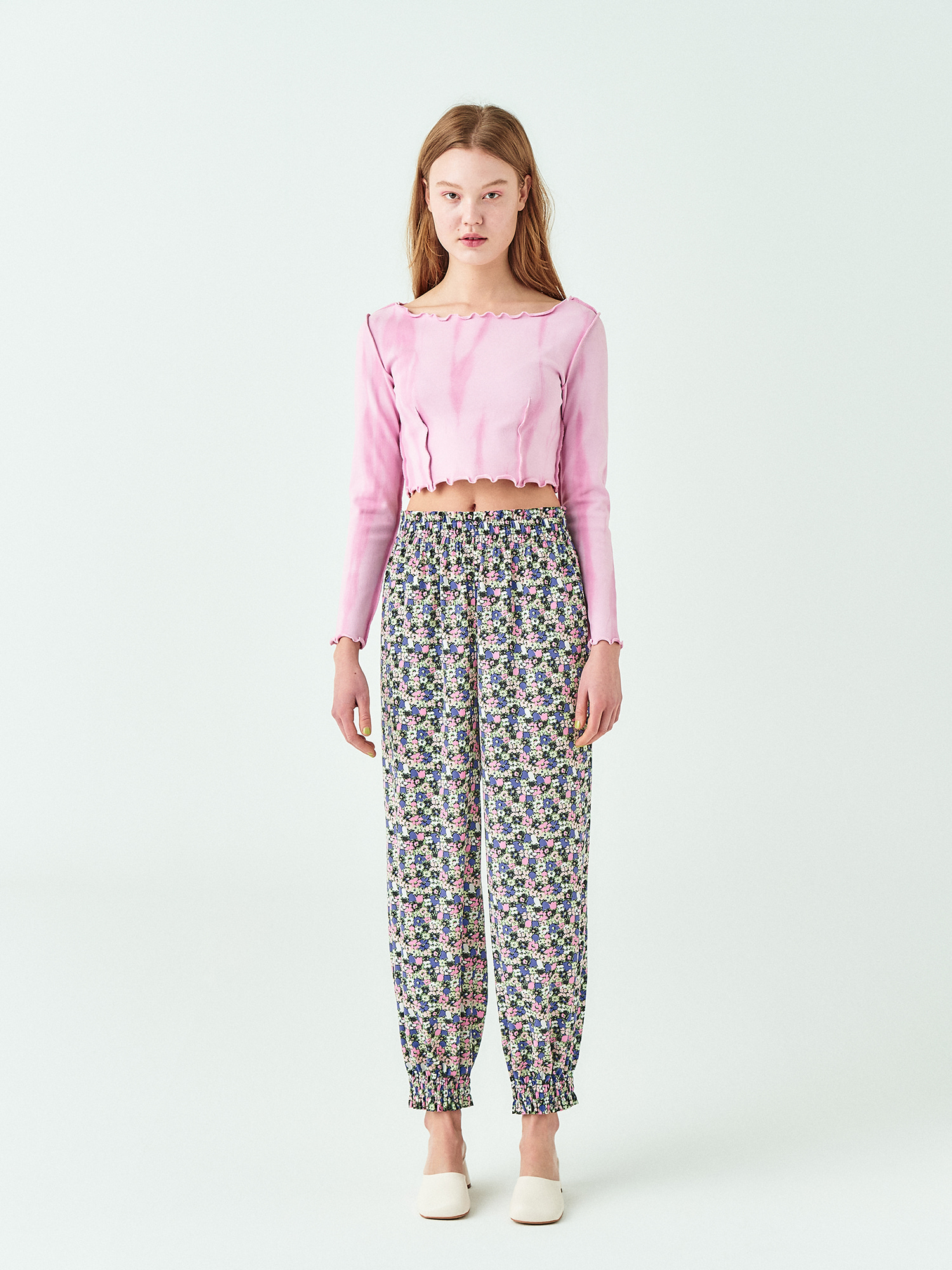 Frill Banding Pants in Floral