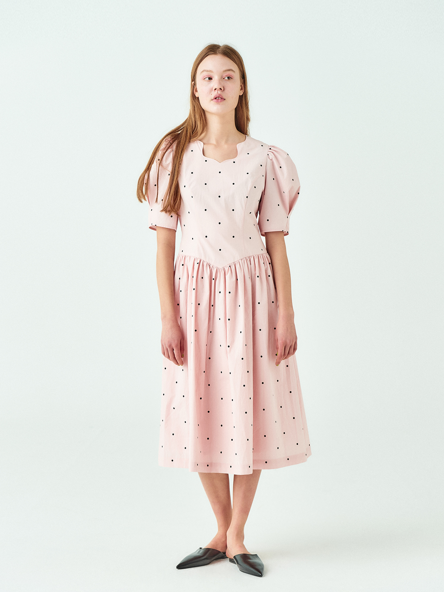 Dot Cotton Dress in Baby Pink
