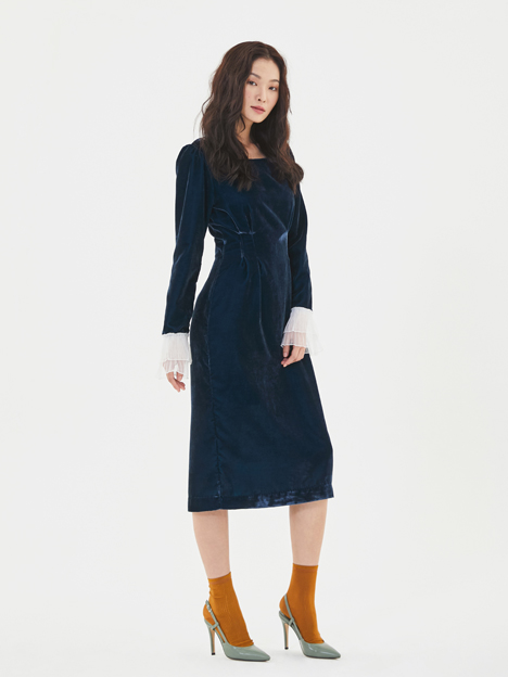 Velvet Pintuck Dress in Navy