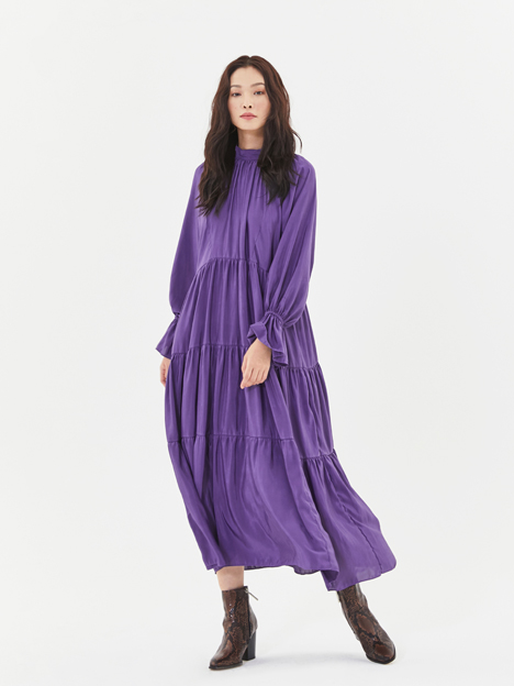 Satin Maxi Dress in Purple(Slip Dress SET)