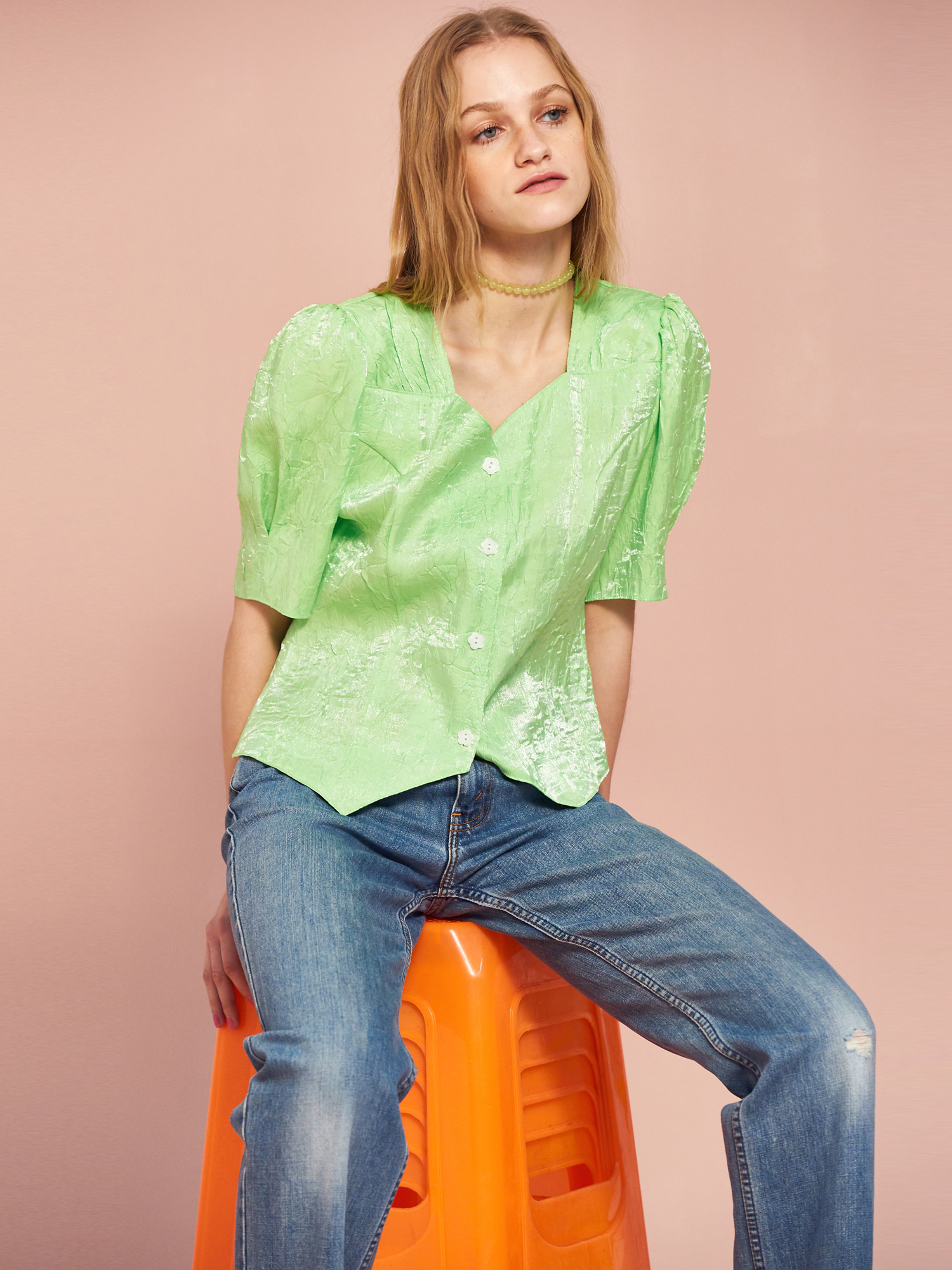 Shining Puff Blouse in Neon Lime
