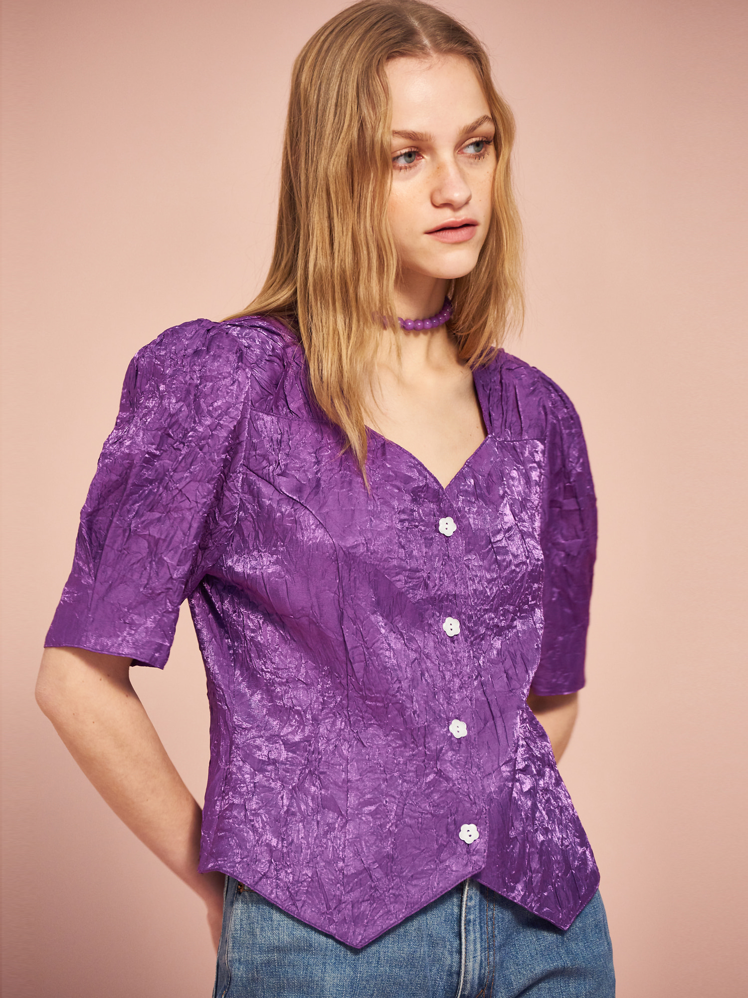 Shining Puff Blouse in Purple