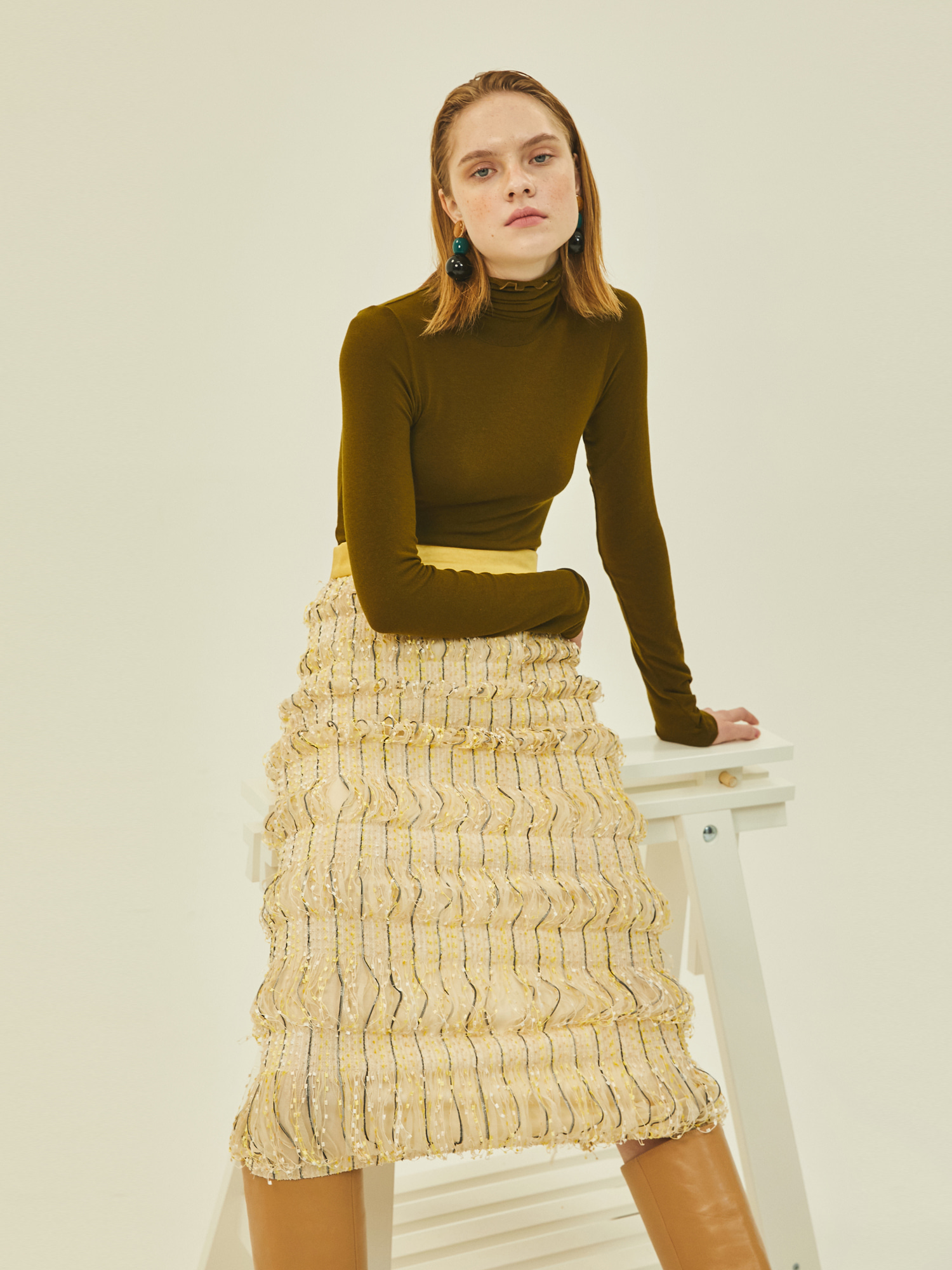 [Clearance Sale 50%Off]Amanda Midi Skirt in Cream