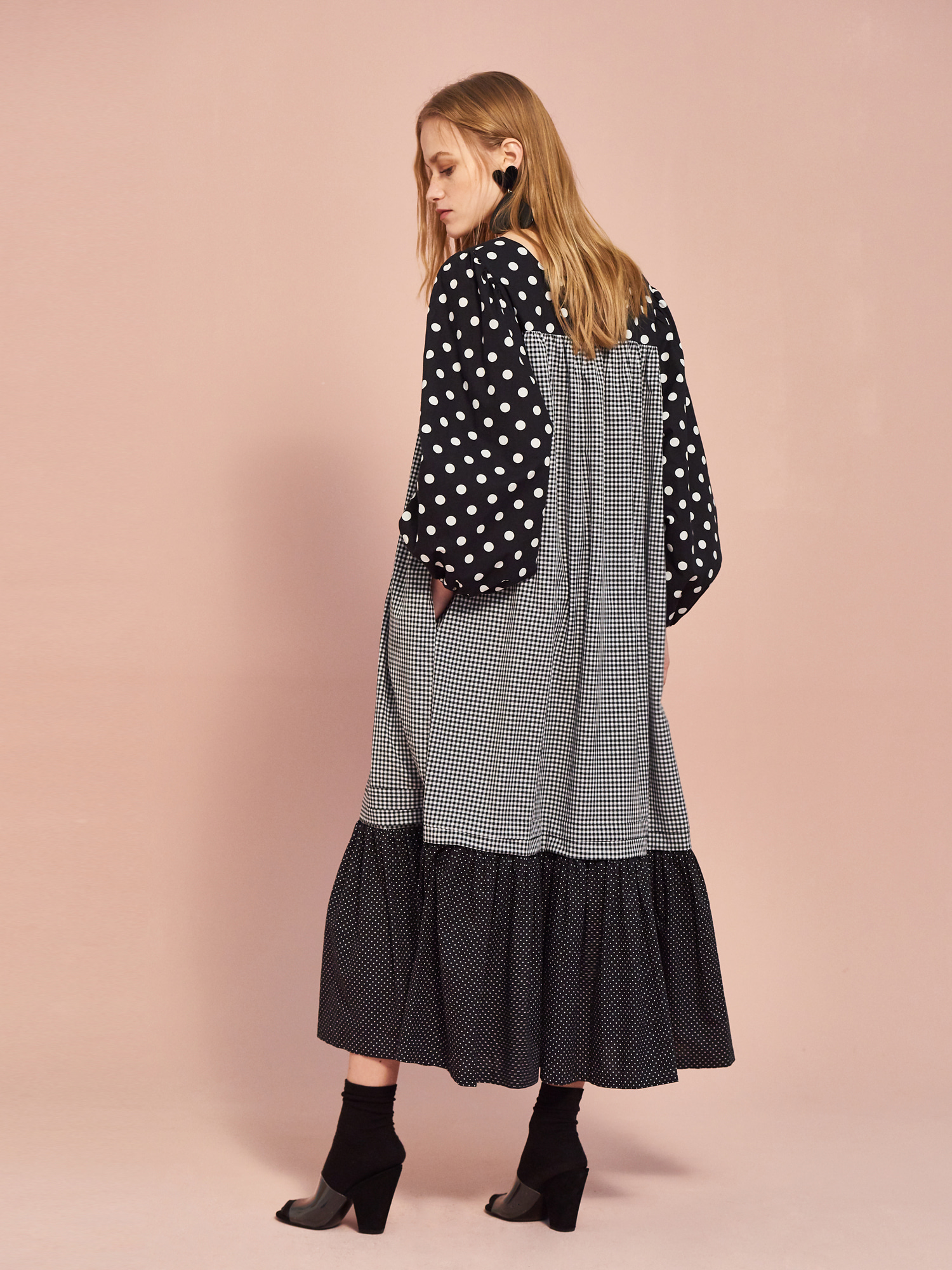 Dot Check Maxi Dress in Black