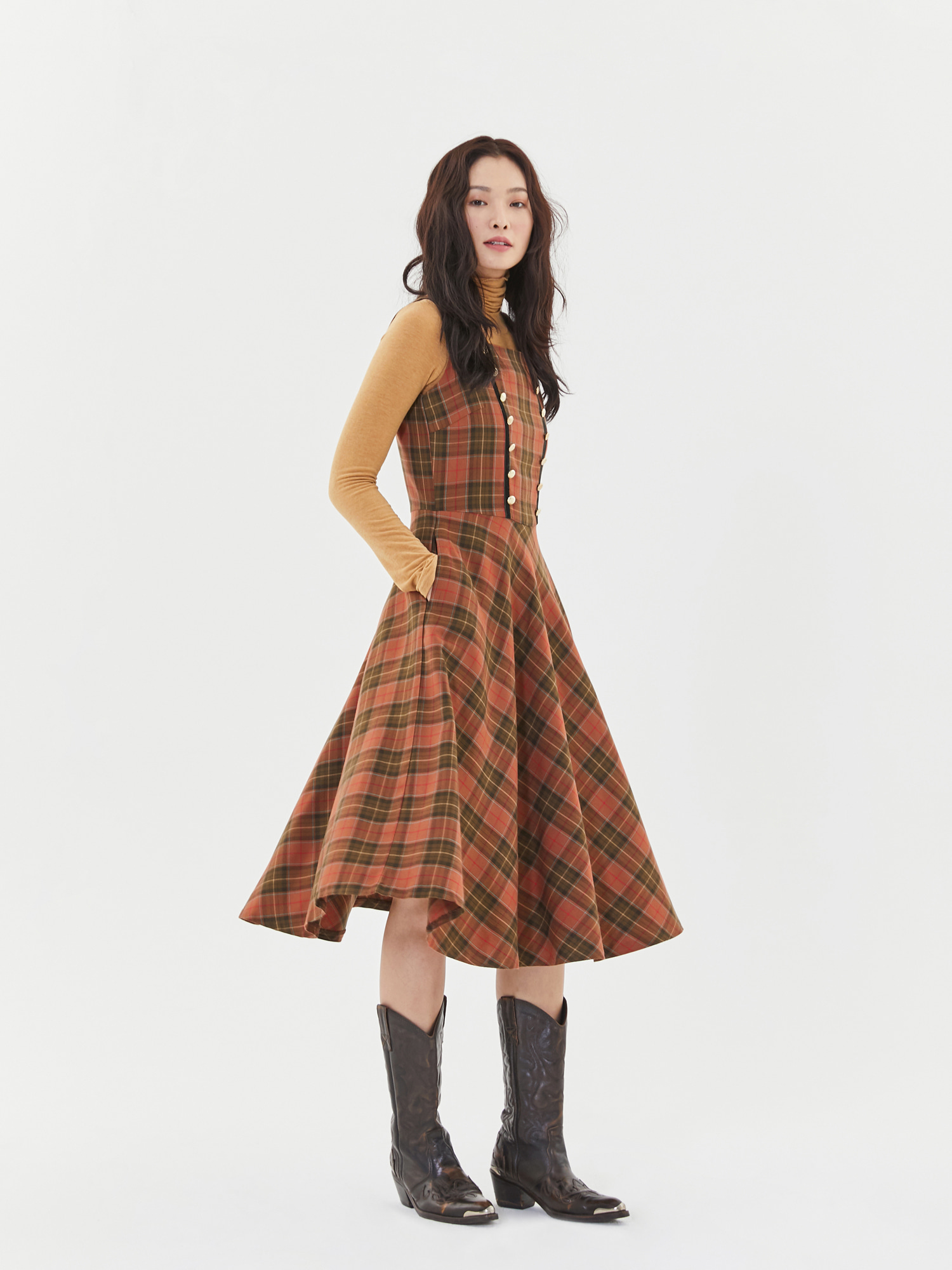 Check Flare Dress in Brown