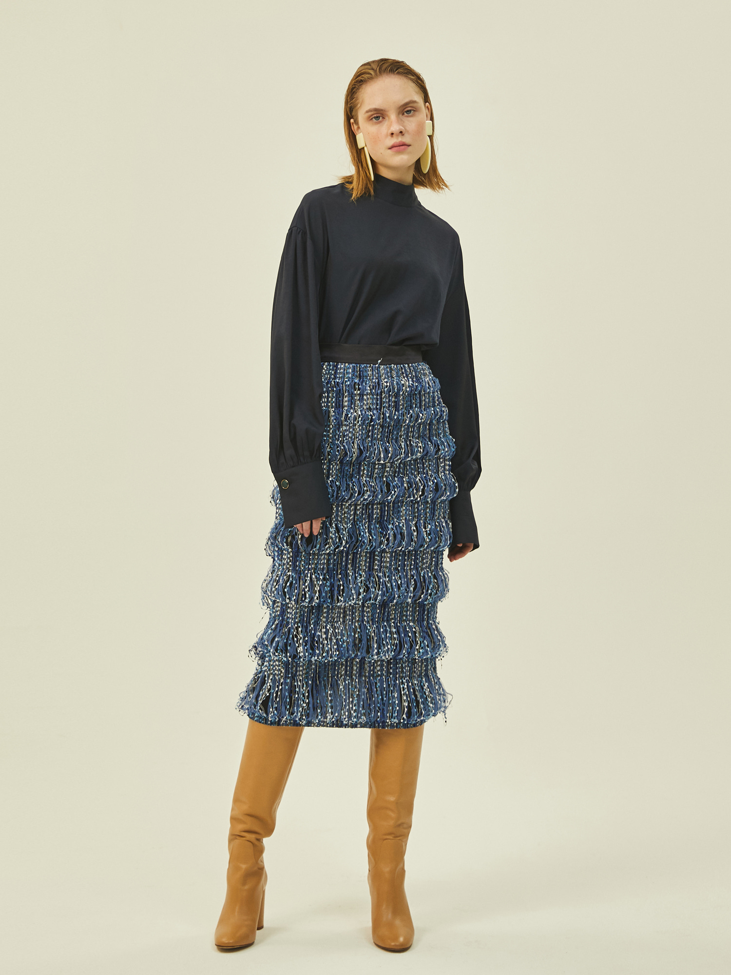 Amanda Midi Skirt in Navy