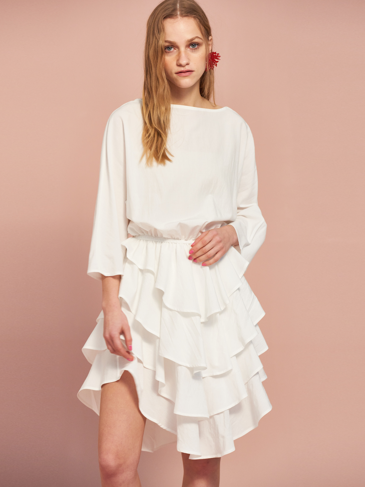 [Clearance 70%Off]Can Can Cotton Dress in Ivory