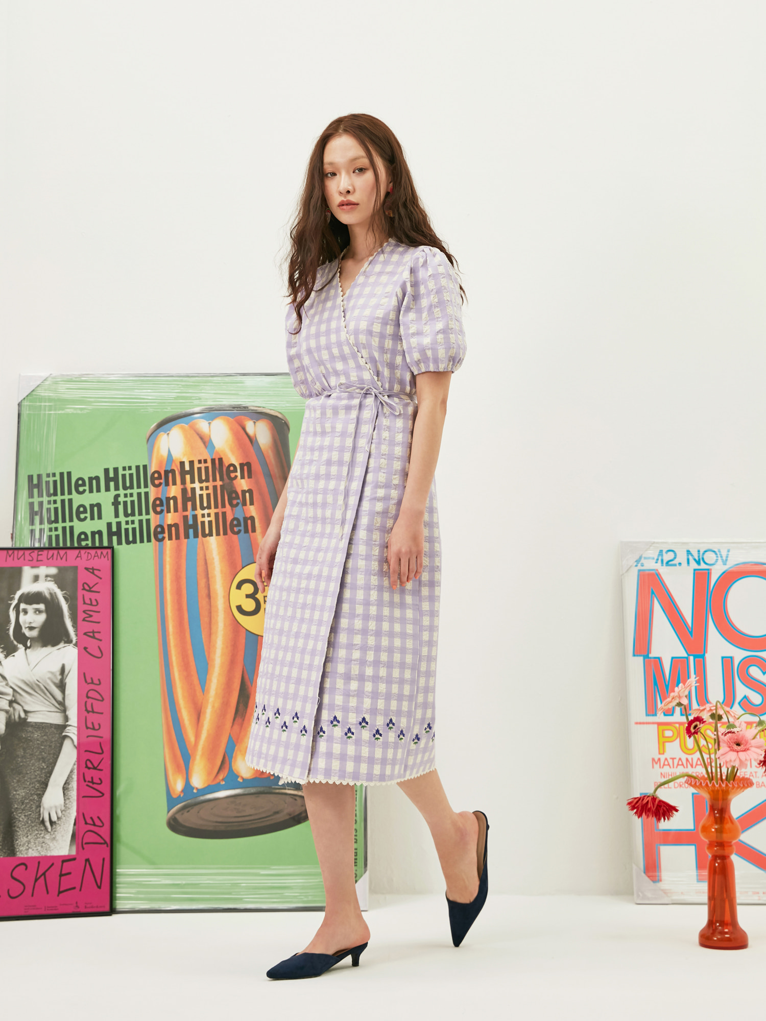 [BEST -10%할인]Gingham Embroidery Wrap Dress in Lavender