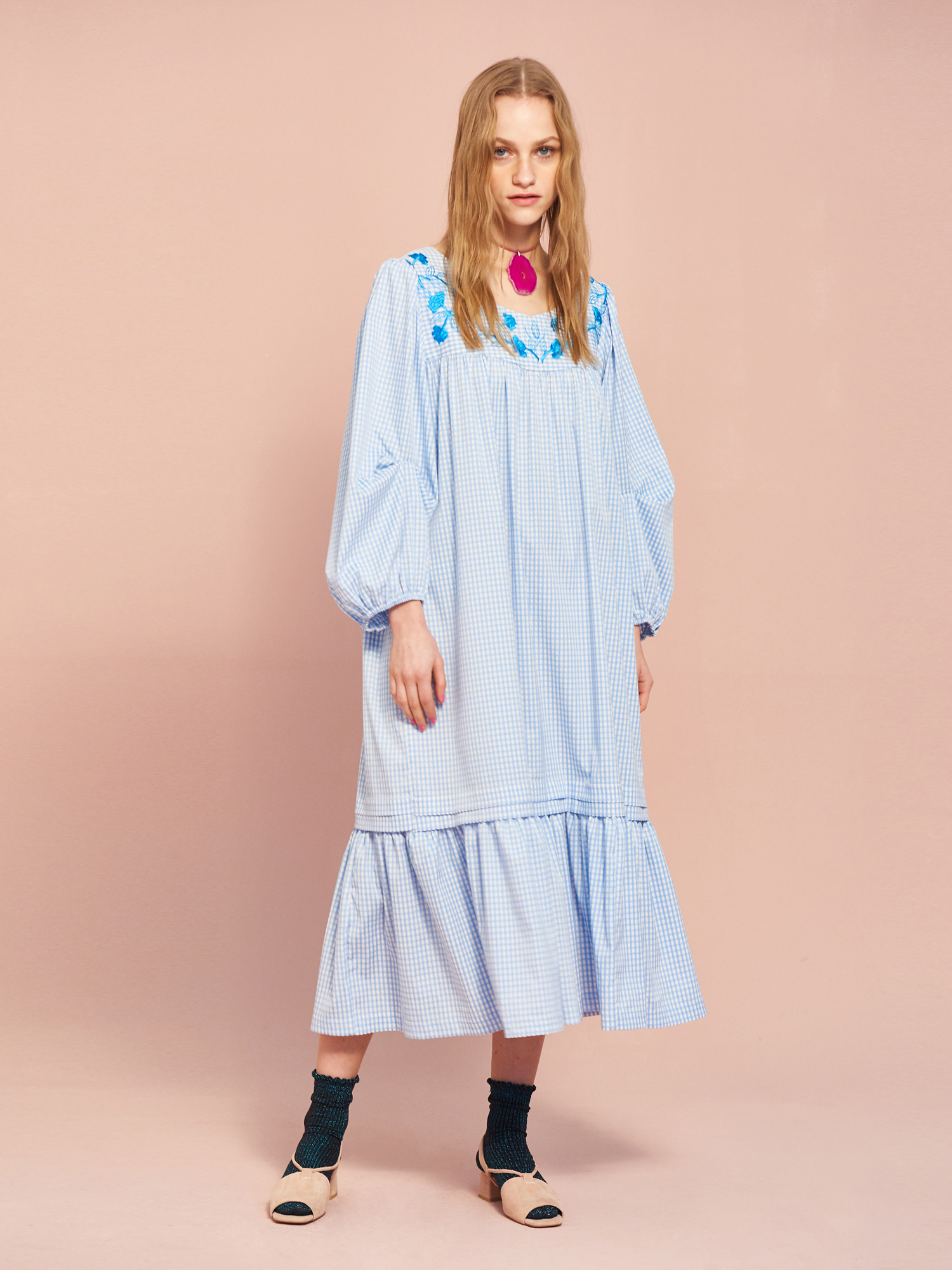 Gingham Embroidery Dress in Sky Blue
