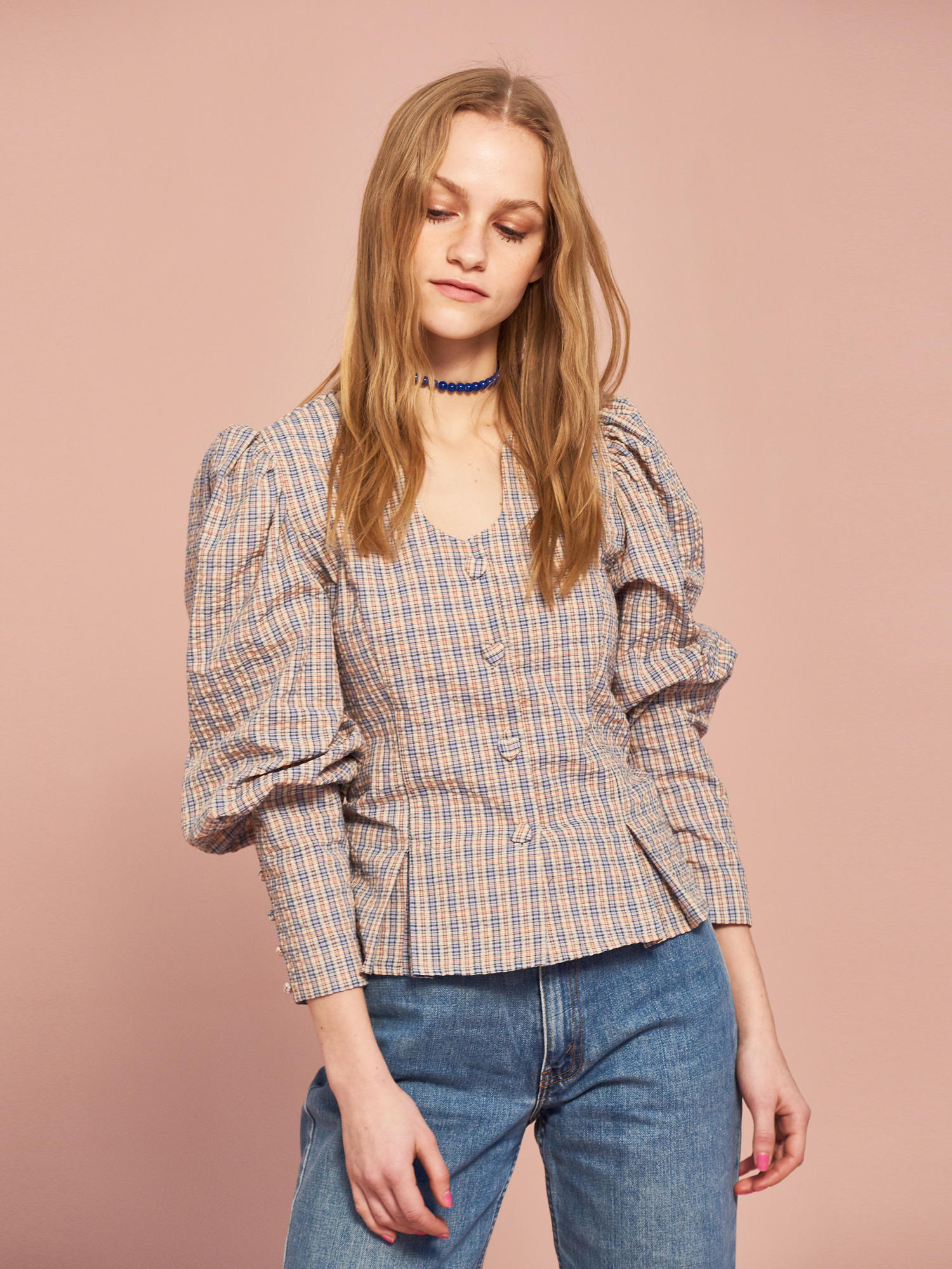 Puff Blouse in Check