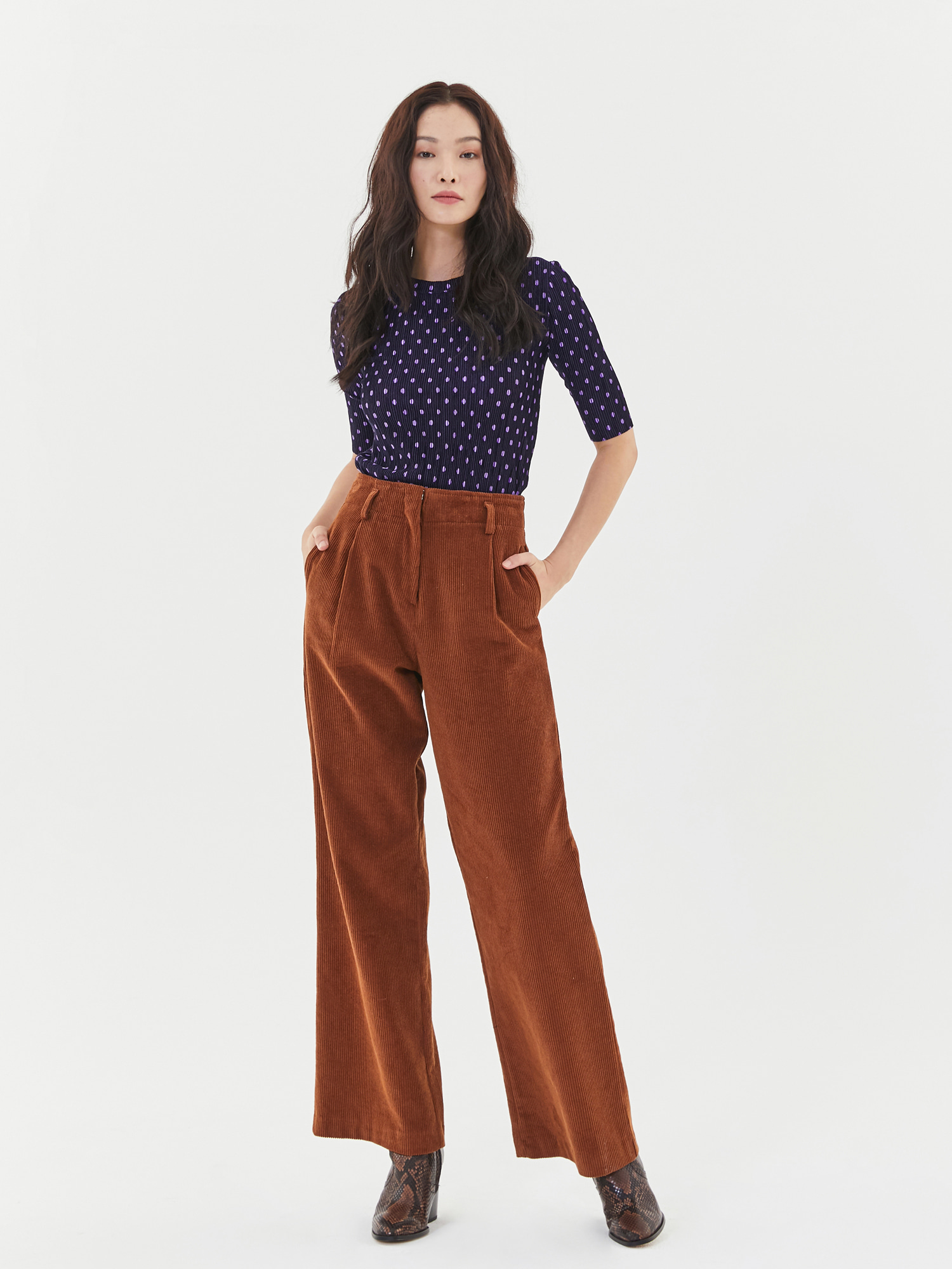 Corduroy Wide Pants in Brown