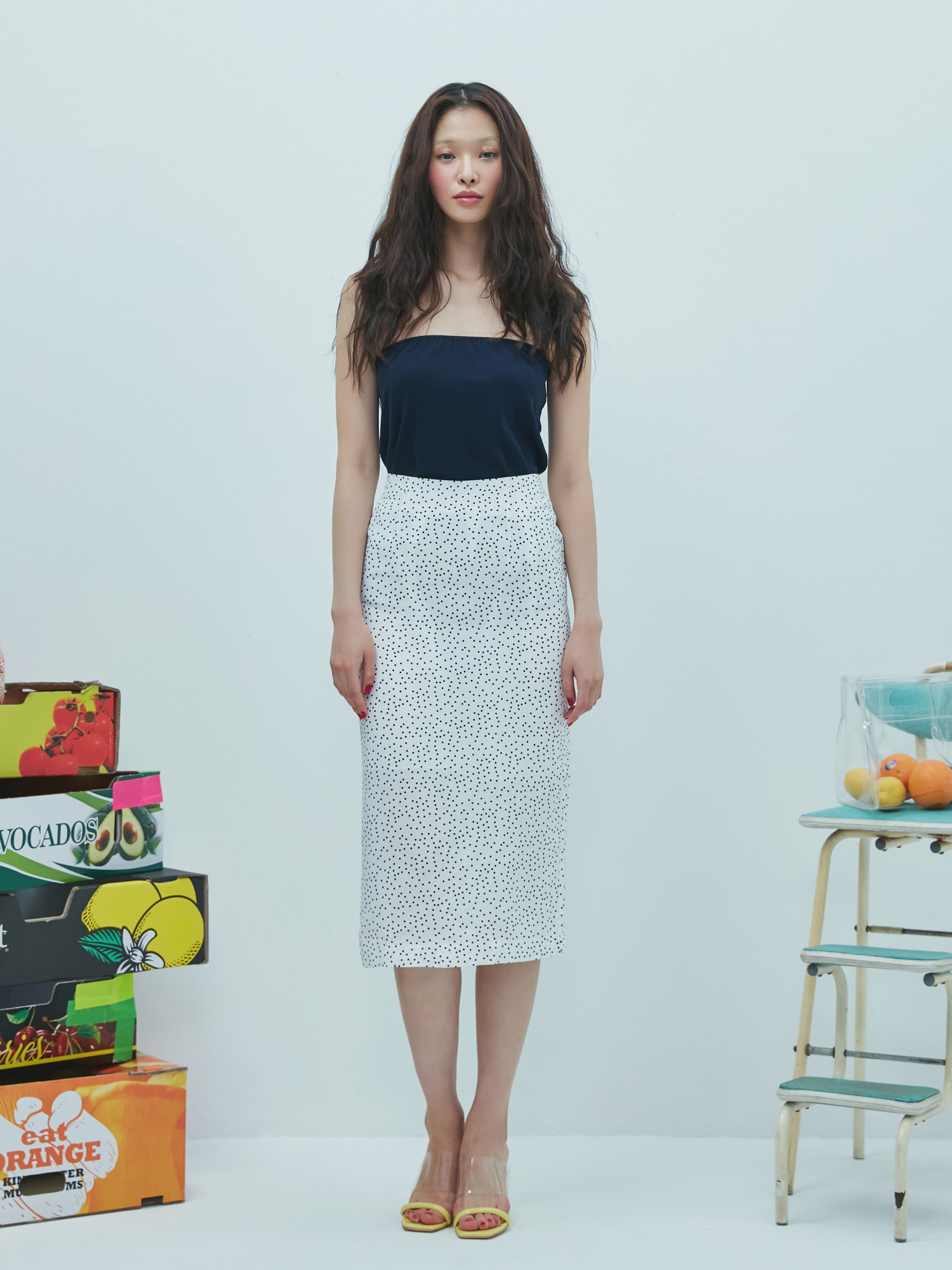 Dot Pencil Skirt(3color)
