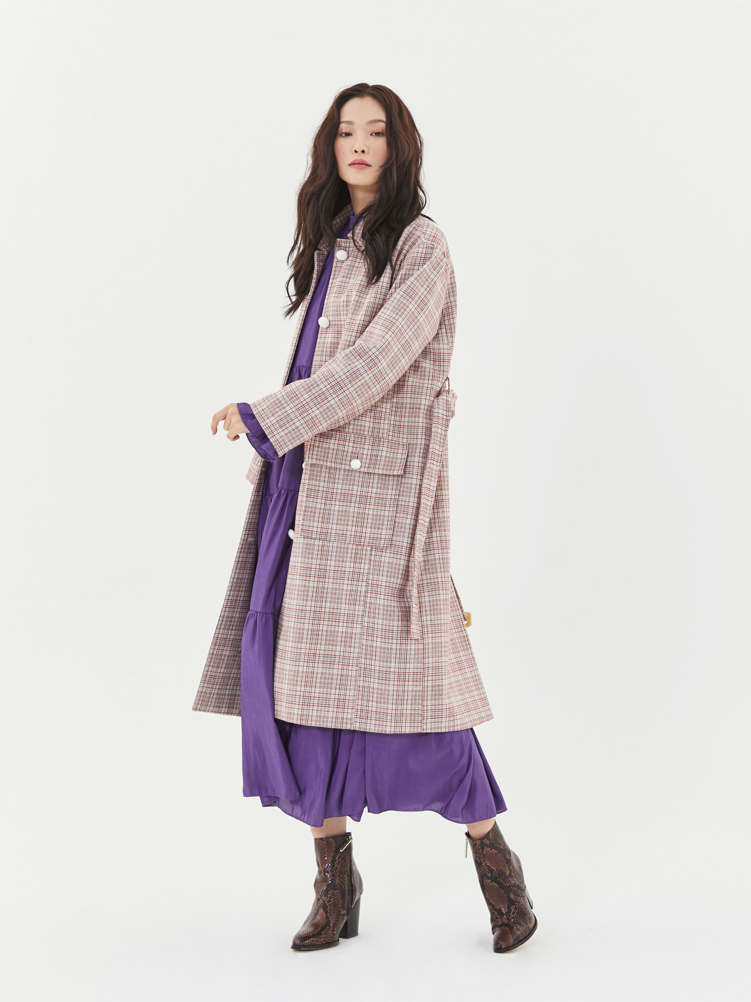 Check Single Button Coat in Pink