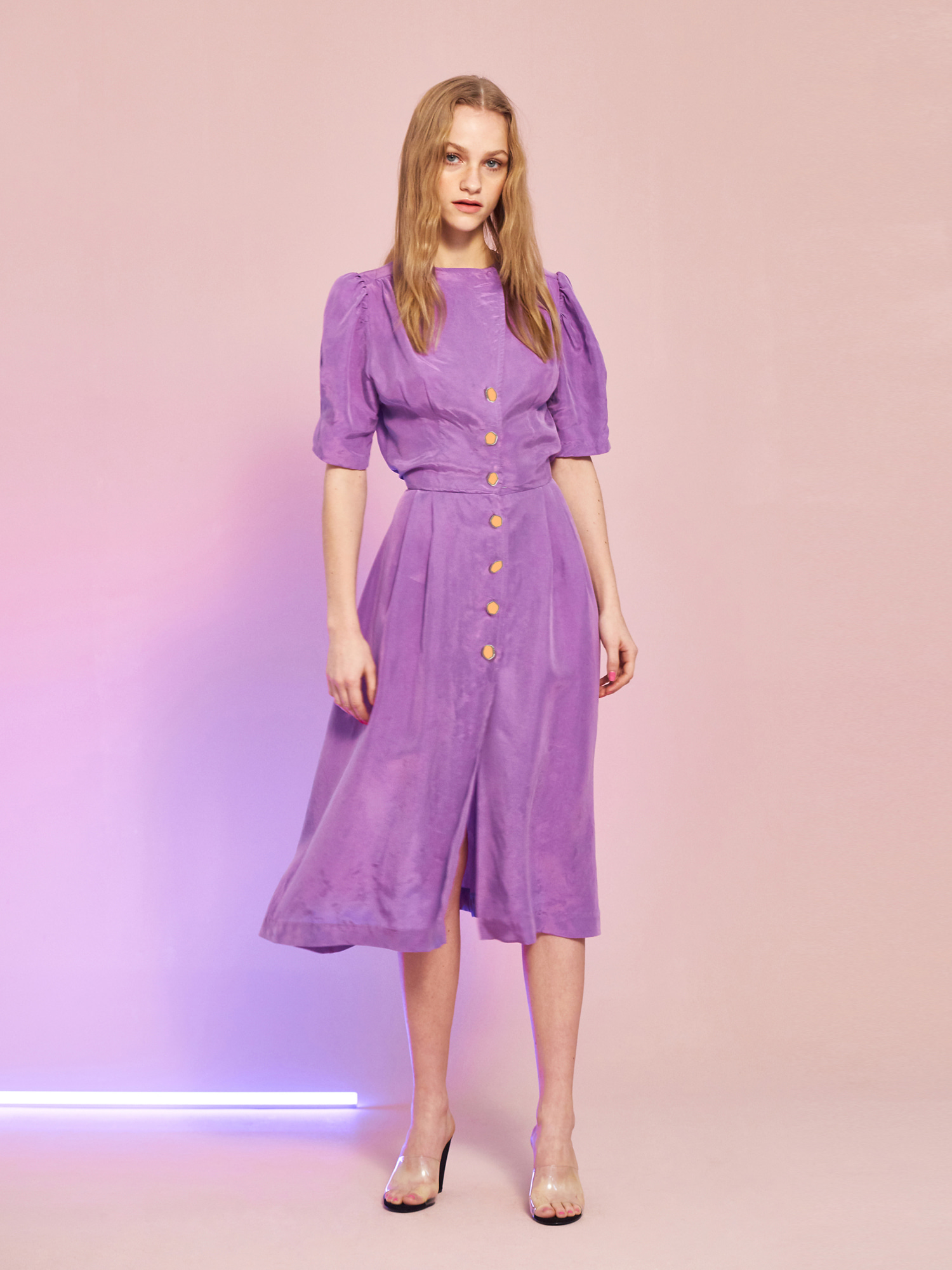[BEST 15% OFF]Cupra Button Dress in Purple