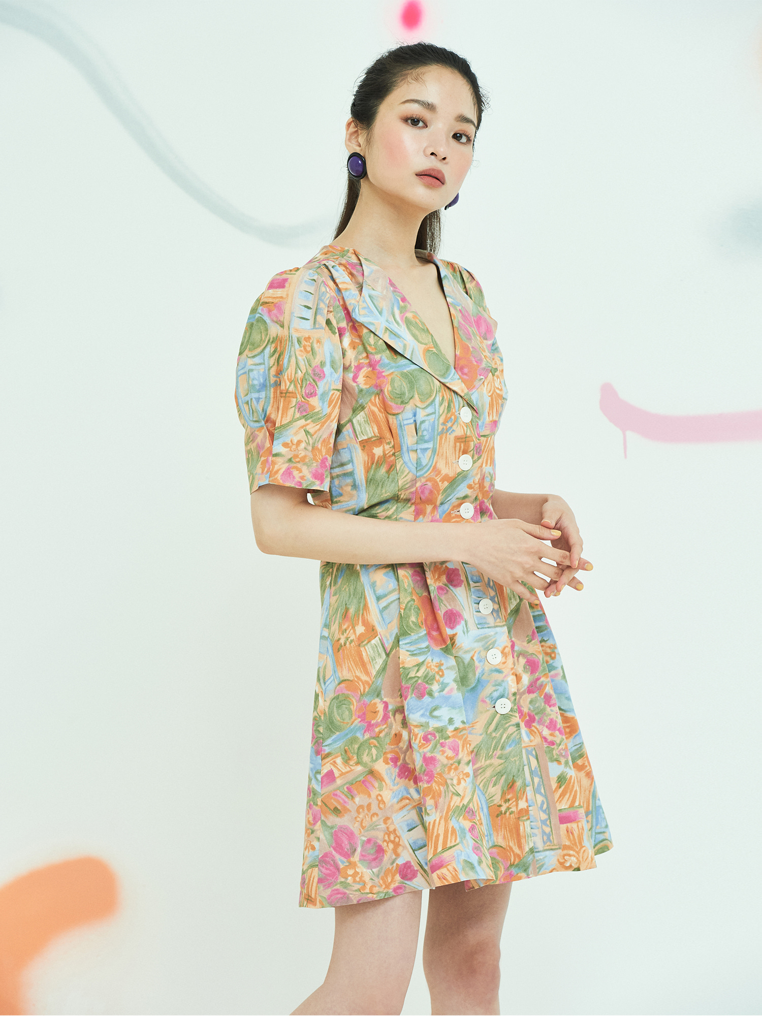 [BEST 15%OFF]Drawing Button Dress in Orange