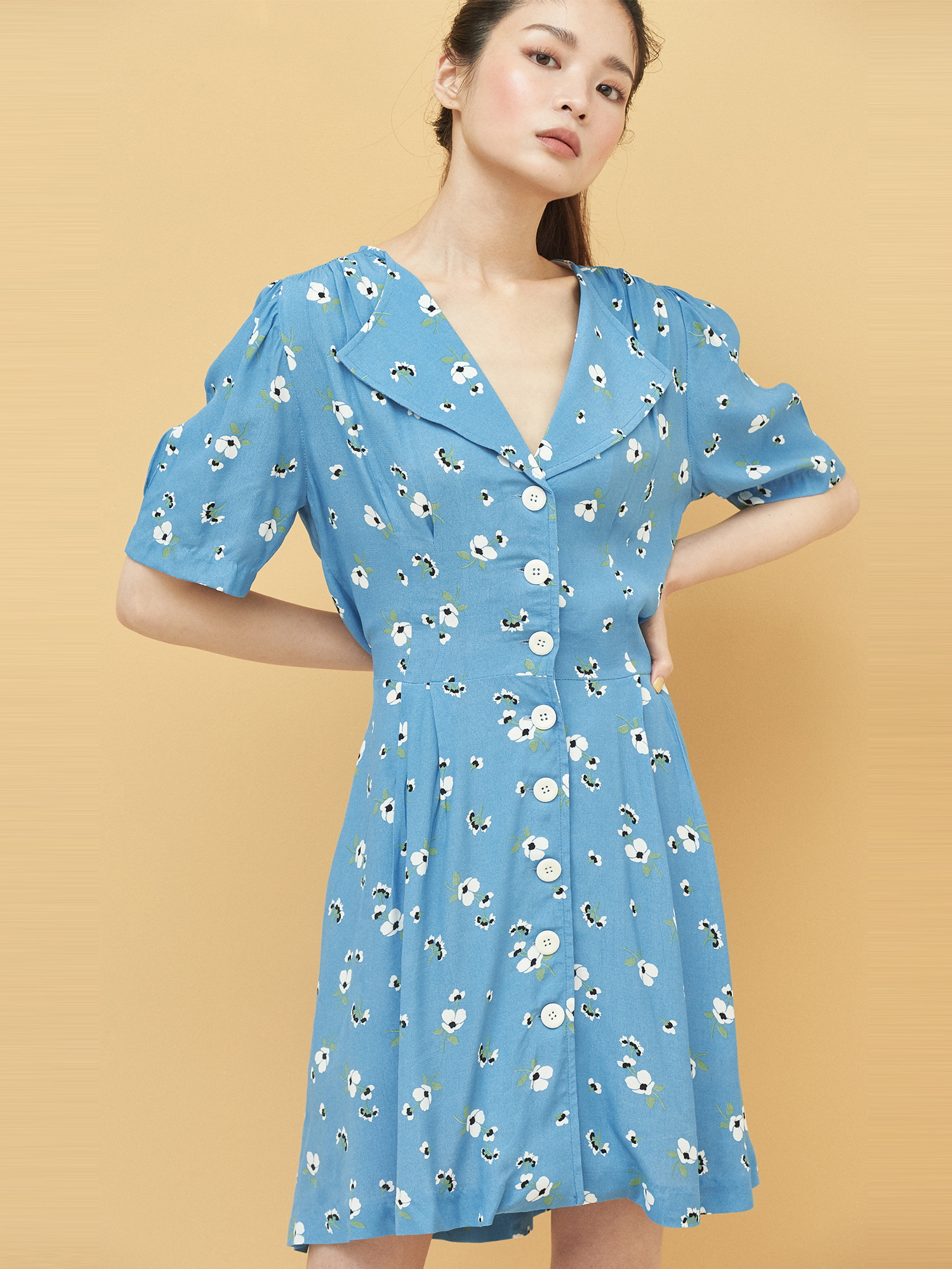 Floral Button Dress in Blue