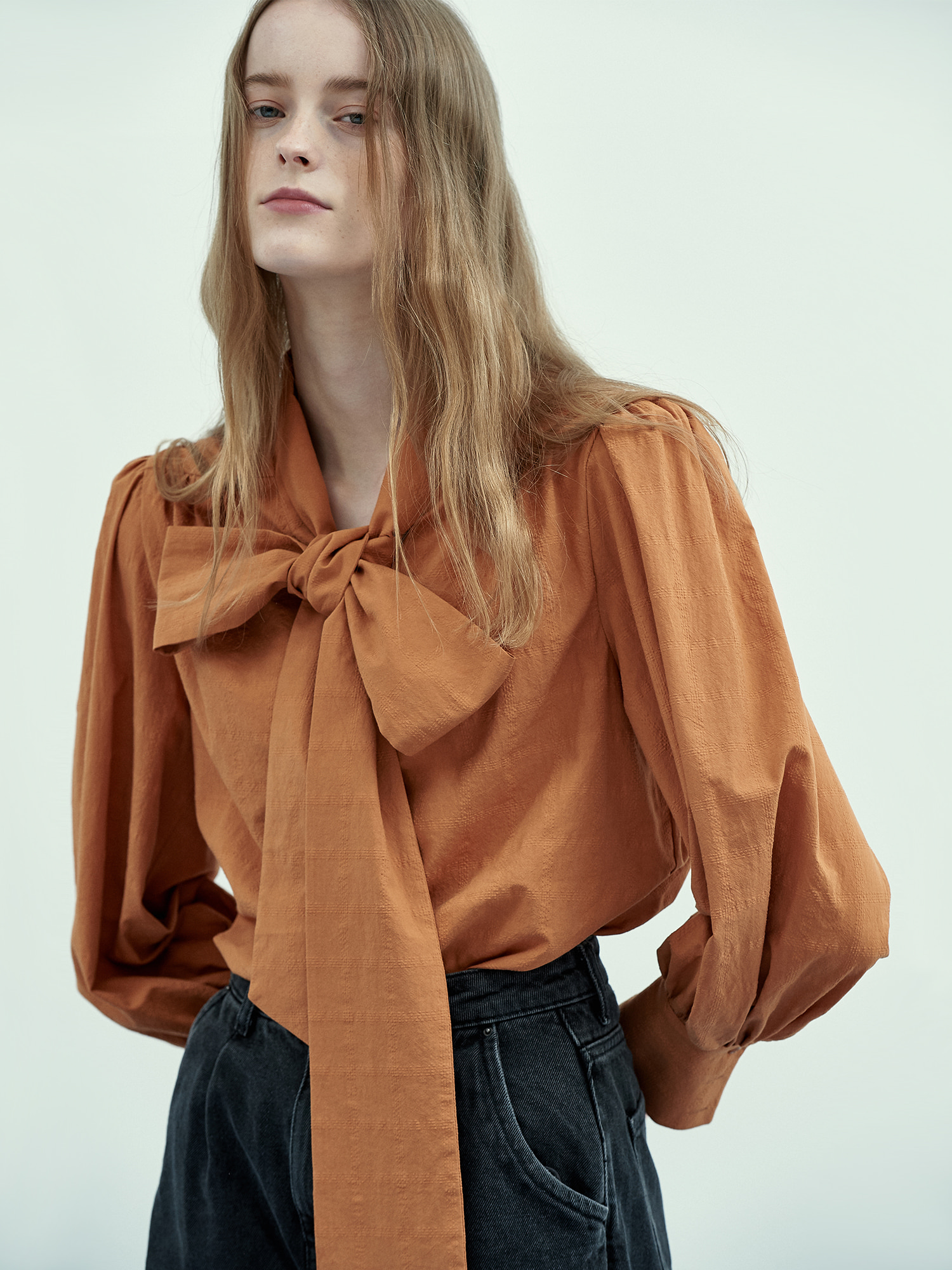 [Season Off Sale 40%Off]Ribbon Tie Blouse in Orange