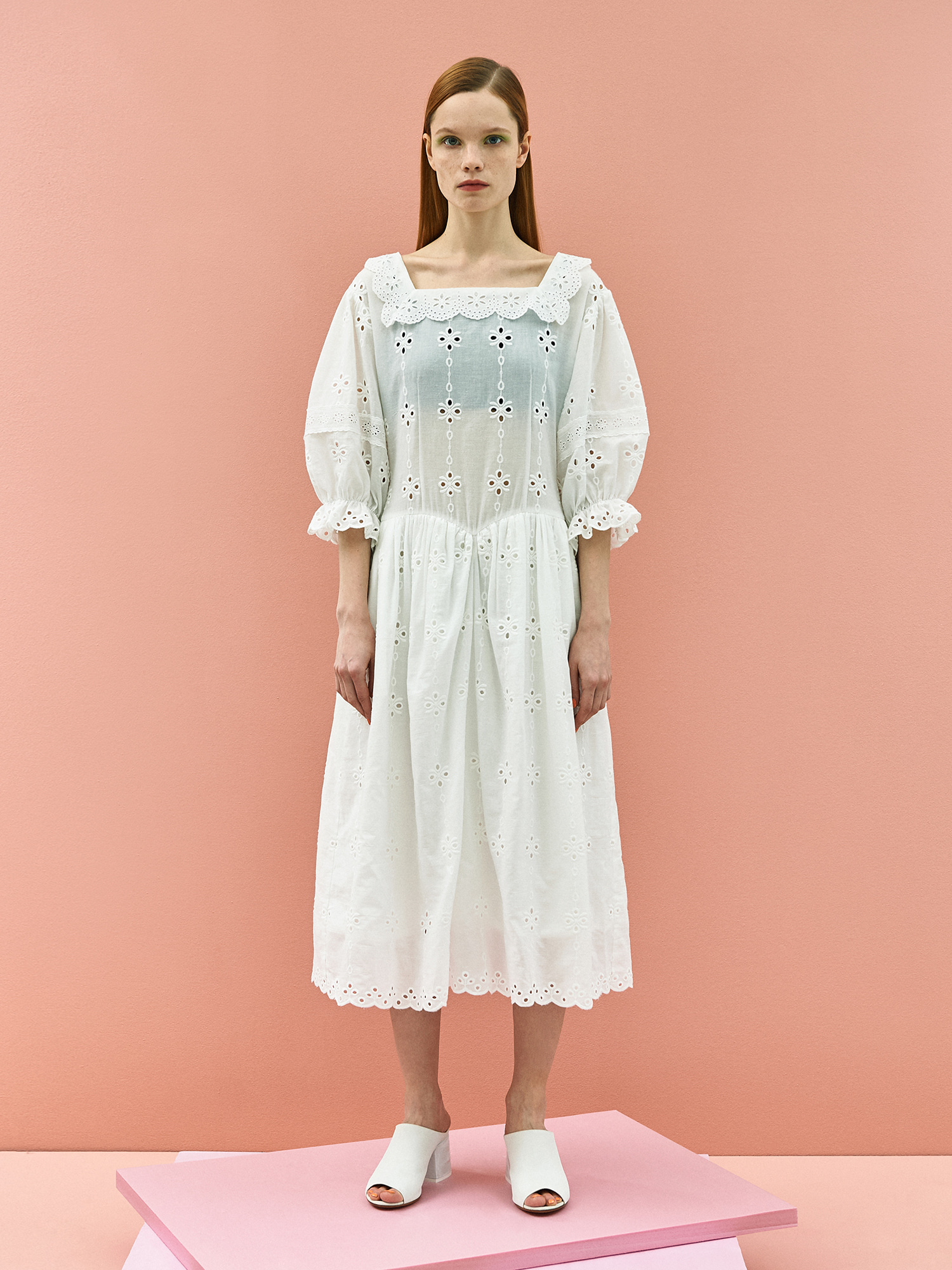 [미드세일 30%할인]Girlish Lace Cotton Dress in White