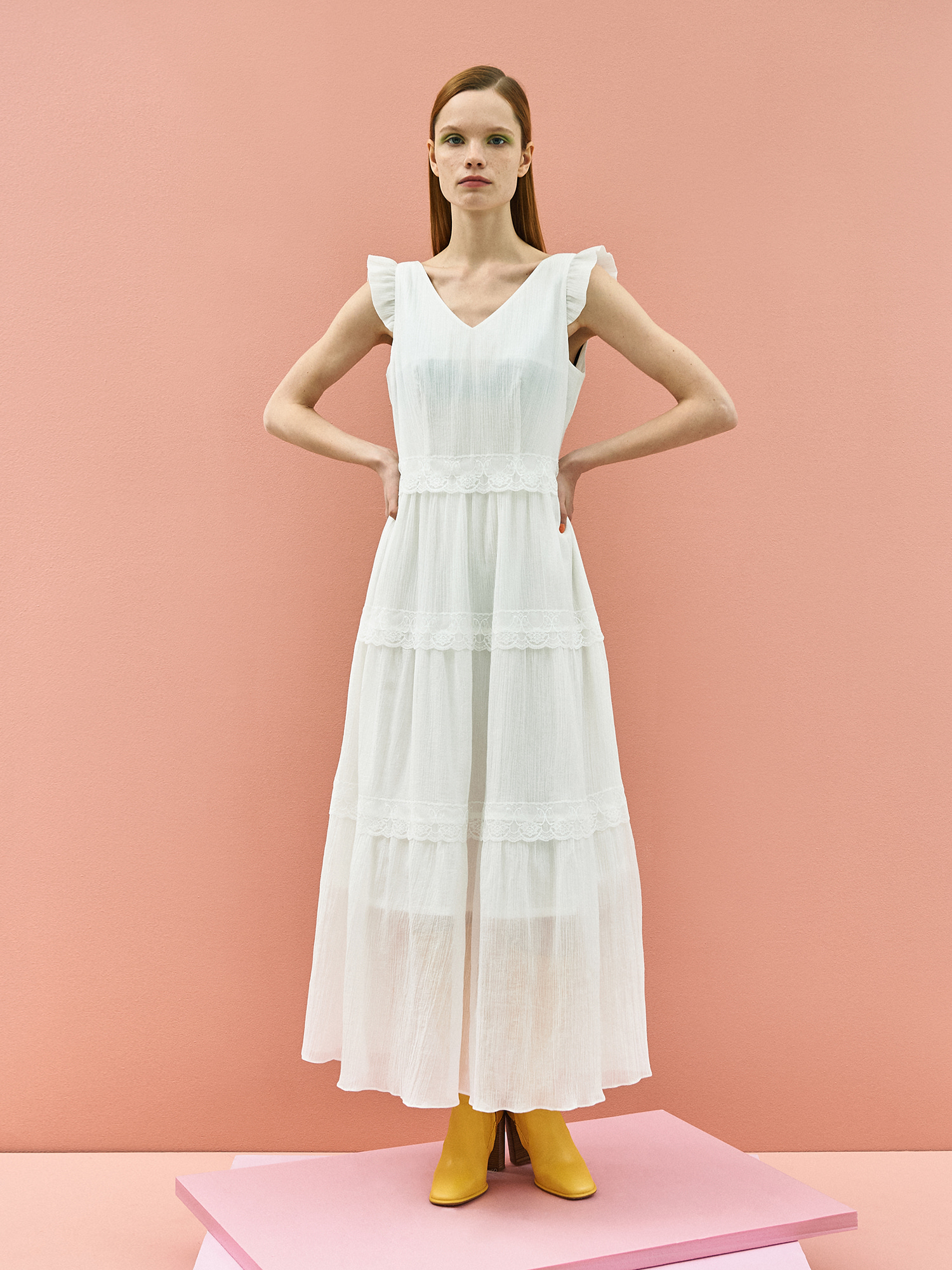 [미드세일 30%할인]Wrinkle Lace Maxi Dress in White