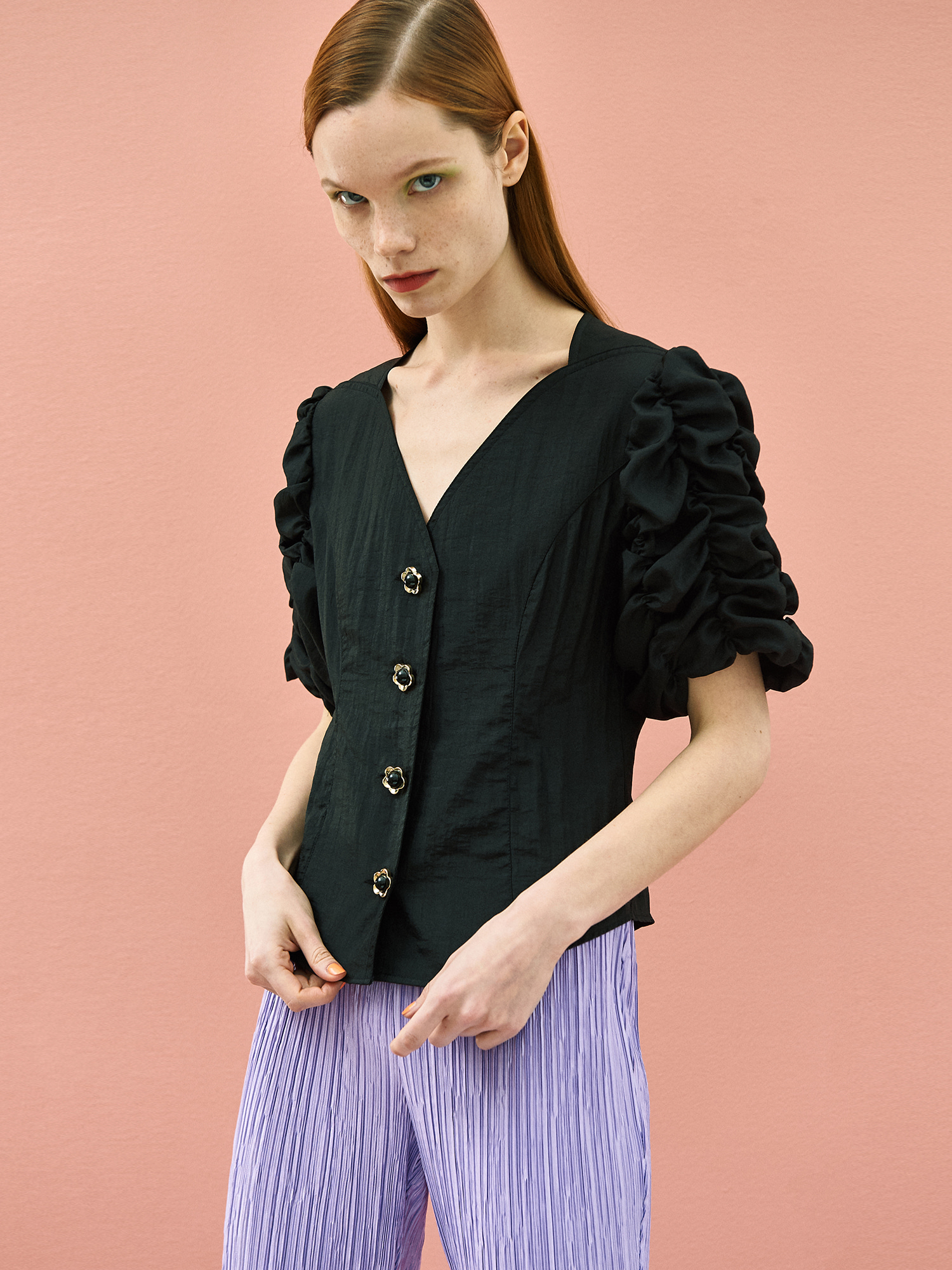 Cockscomb Blouse in Black