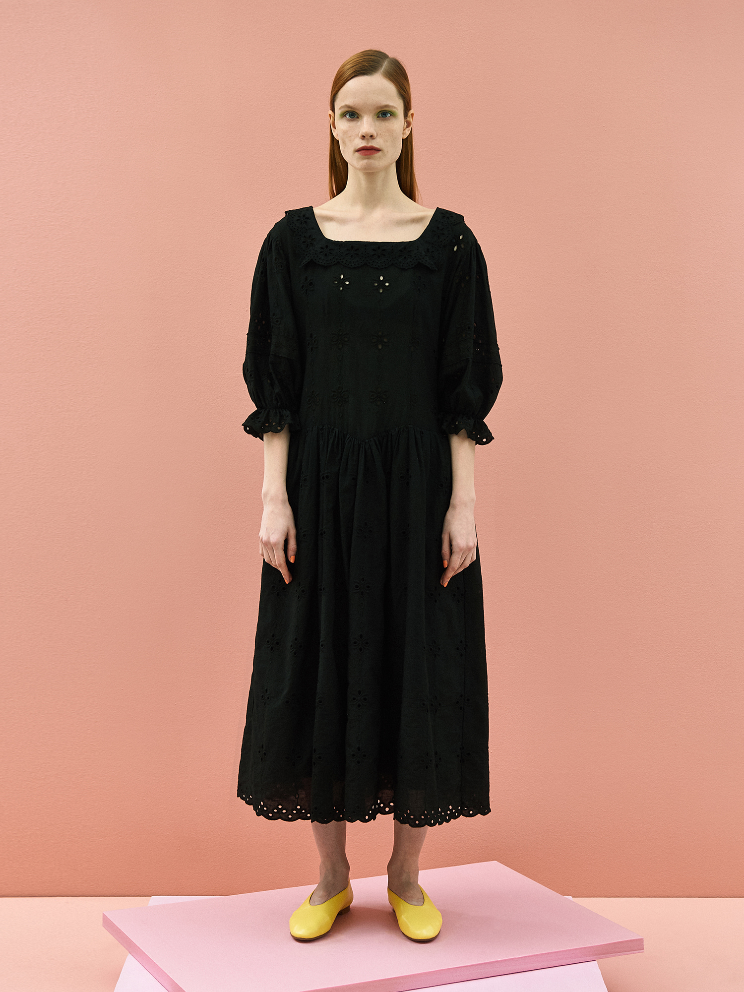 [미드세일 30%할인]Girlish Lace Cotton Dress in Black