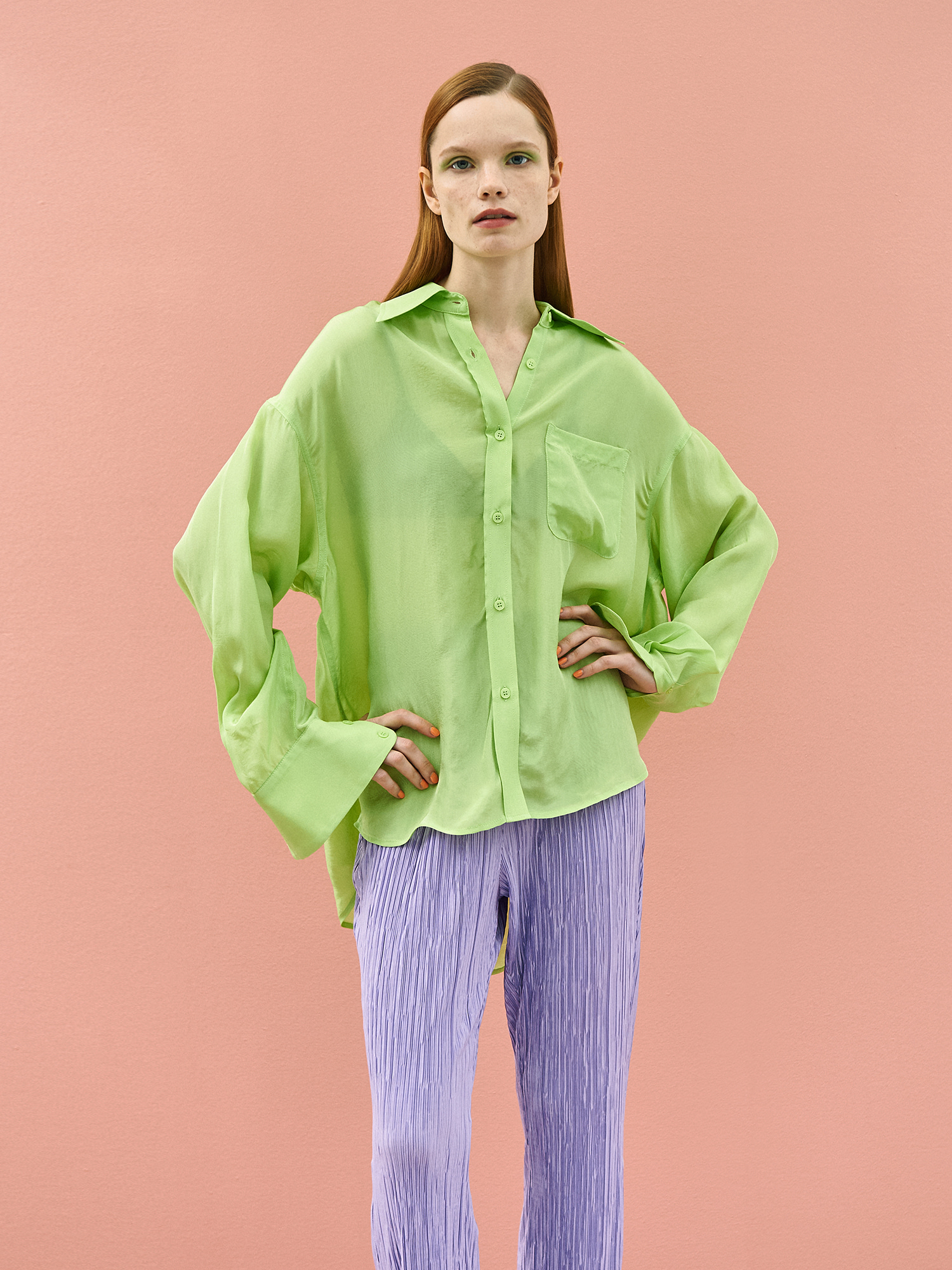 Shining Color Shirt in Lime