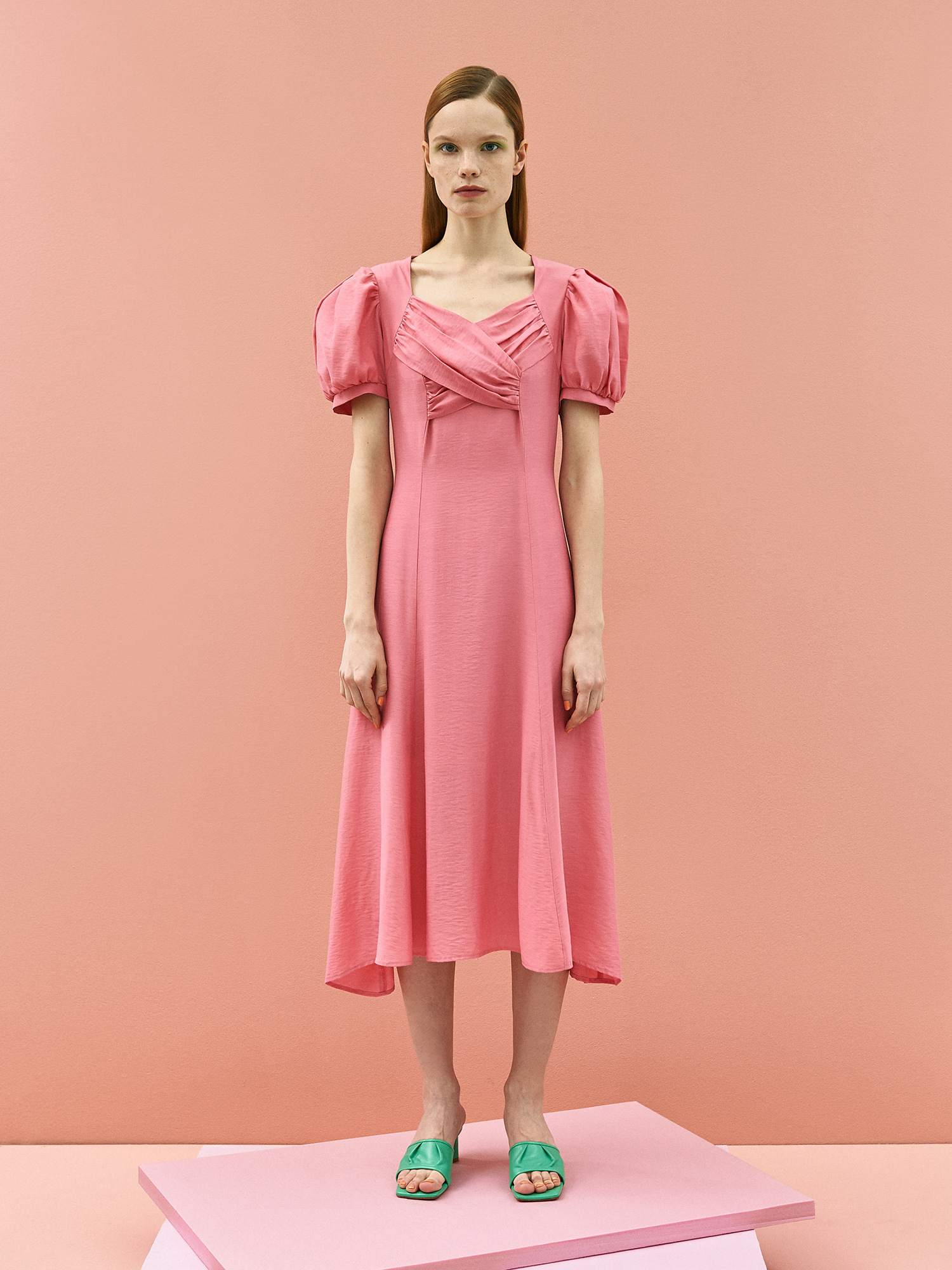 [SUMMER BIG SALE][리퍼브50%]Tulip Puff Dress in Pink