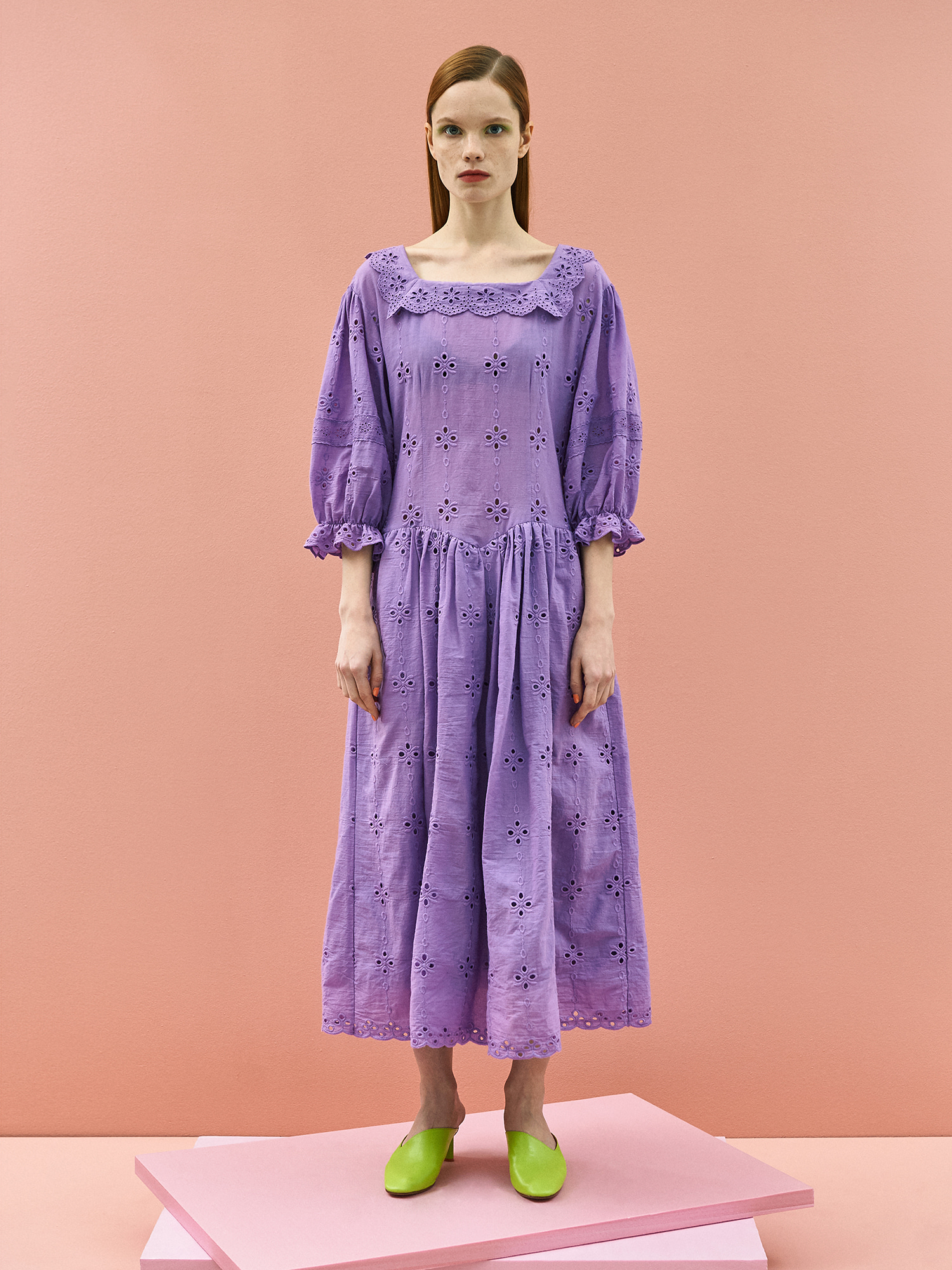 [B품 40%할인]Girlish Lace Cotton Dress in Purple