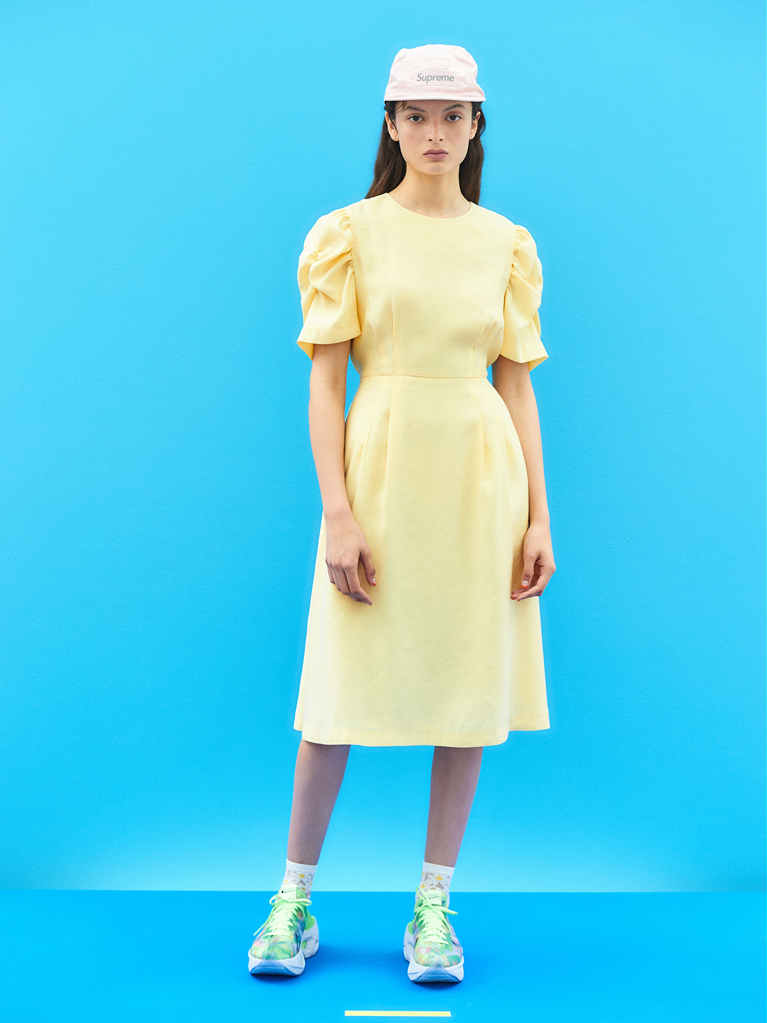[SEASON OFF 30% SALE]Tidy Shirring Sleeve Dress in Light Yellow