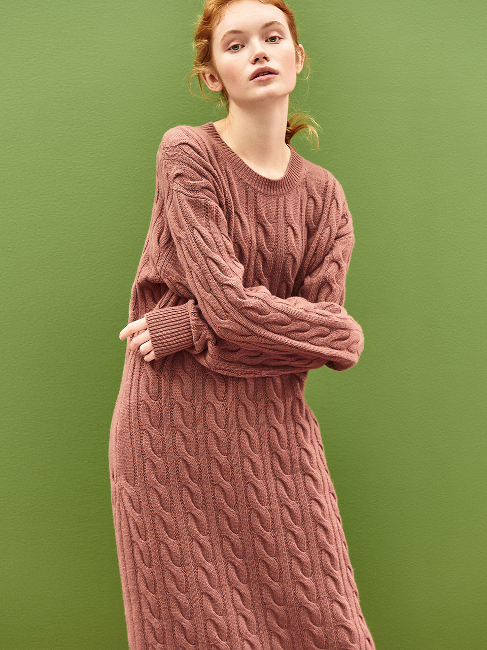 Cable Knit Maxi Dress in Red Bean