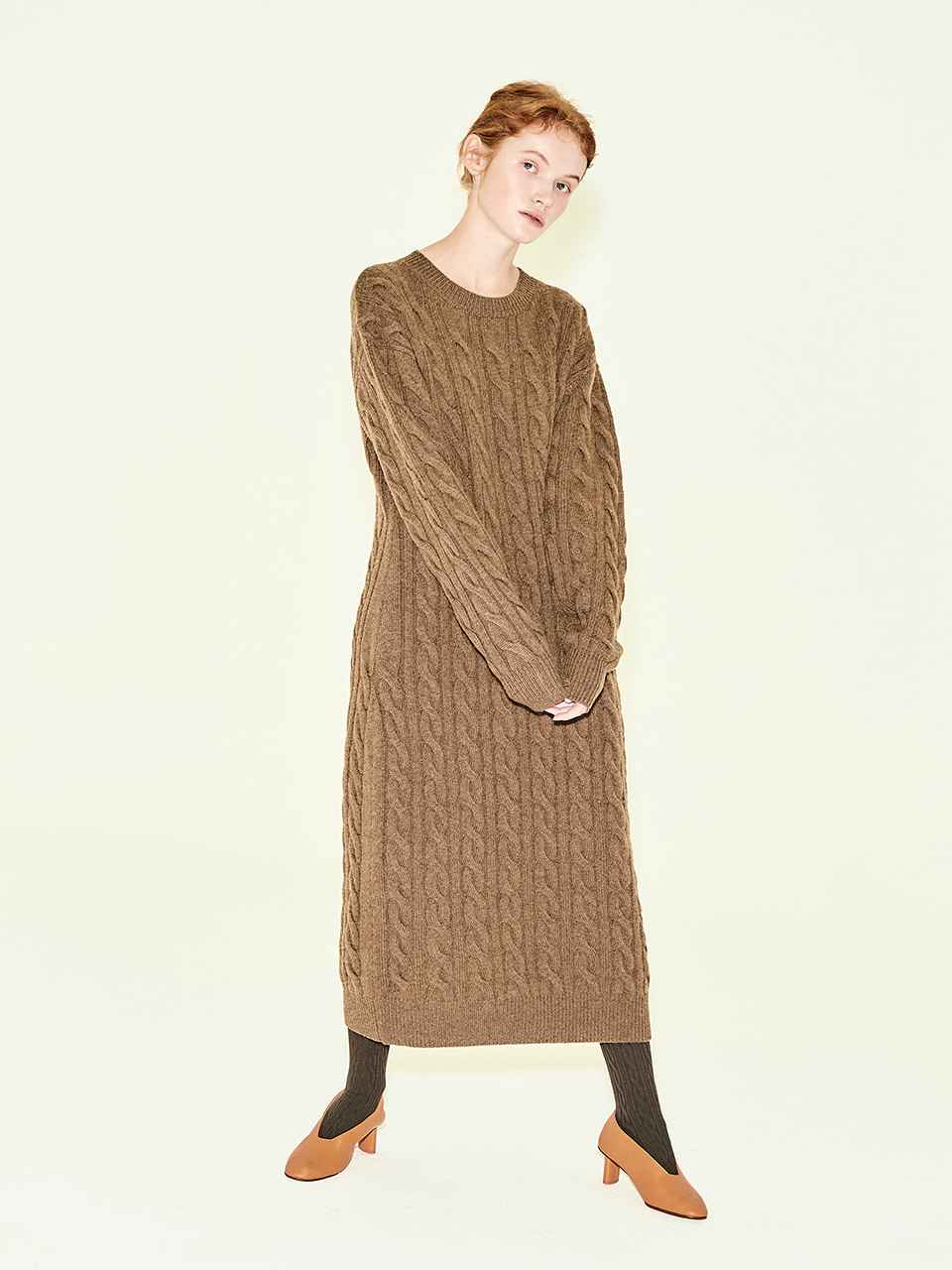 Cable Knit Maxi Dress in Brown Mel