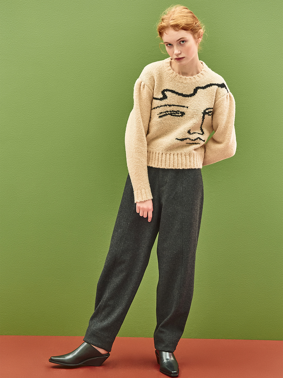 [40%OFF]Wool Tab Button Pant in Charcoal