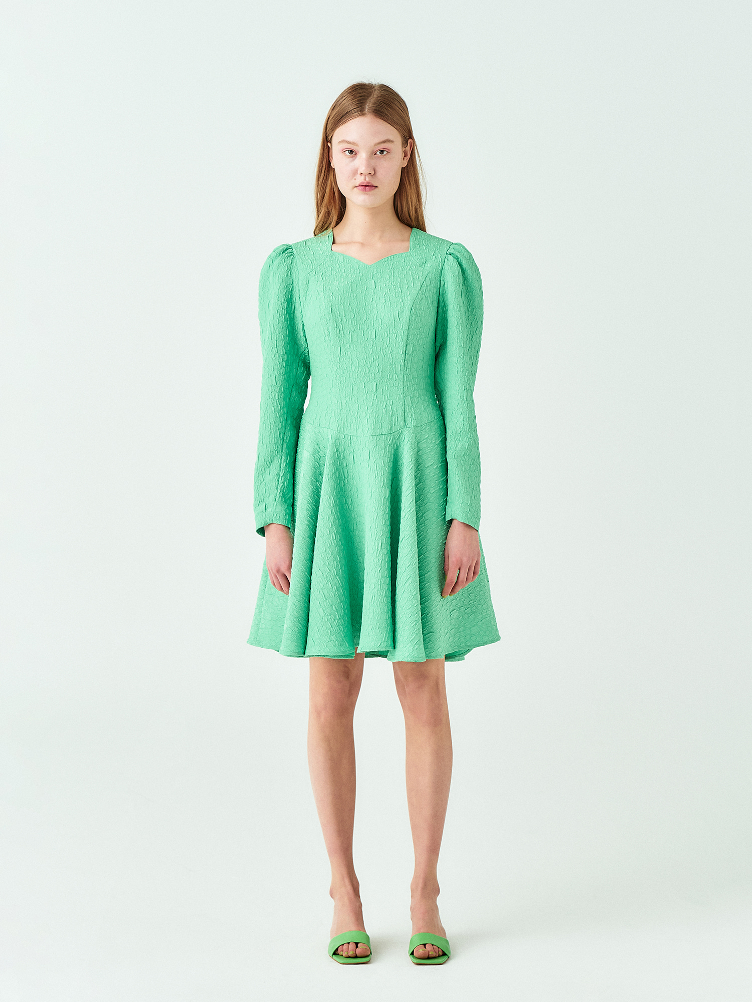 Jacquard Flare Dress in Green