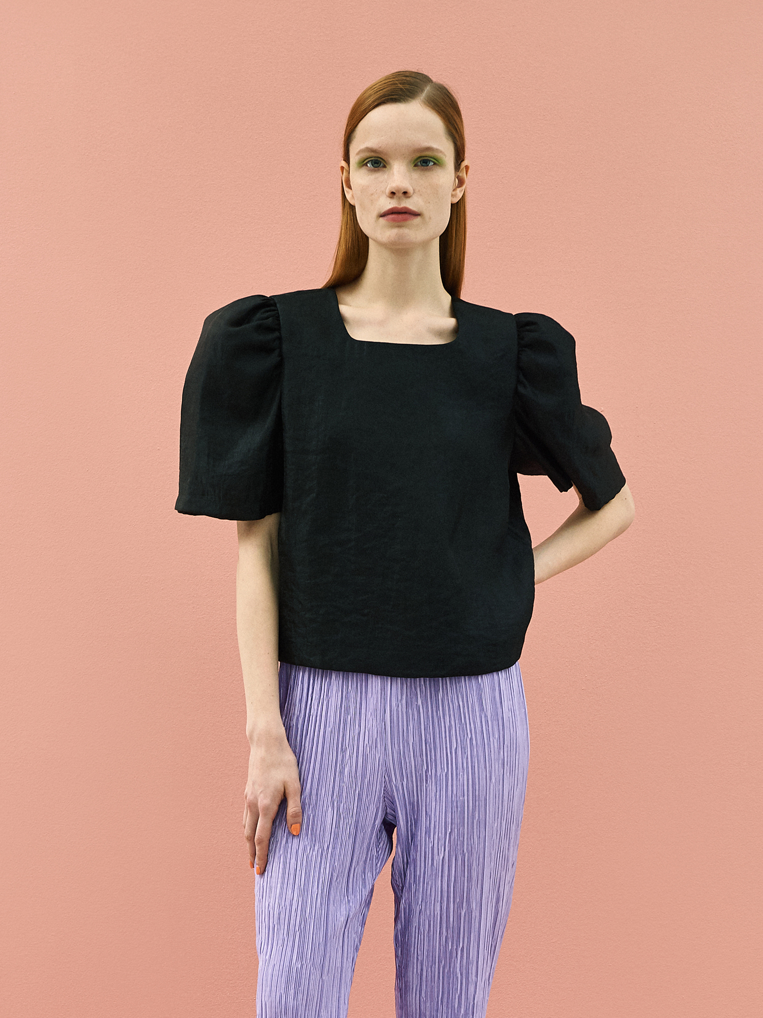 [SUMMER BIG SALE]Twinkle Puff Blouse in Black
