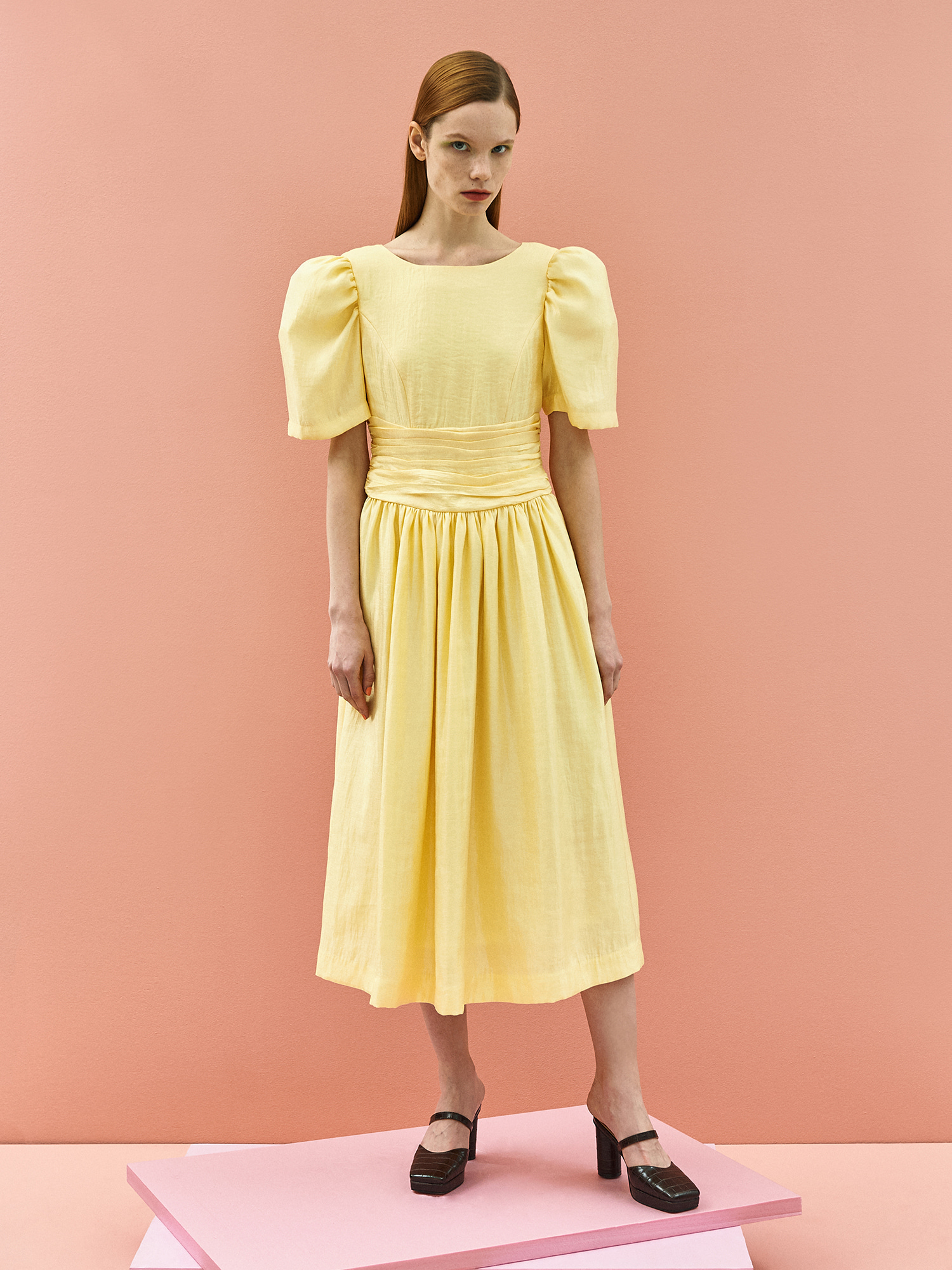 [미드세일 40%할인]Retro Ribbon Dress in Lemon
